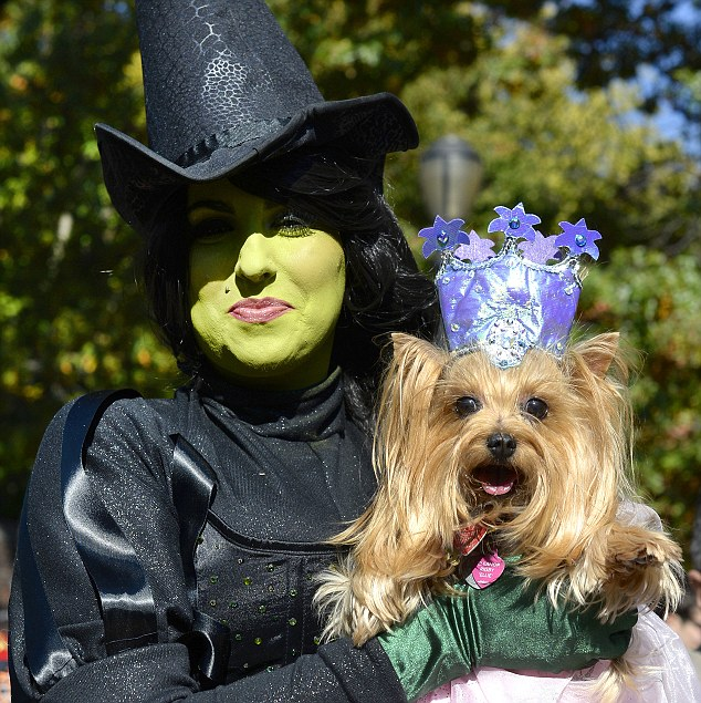Minnie and her dog Elanor dressed as the