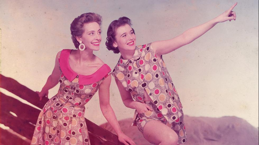 Circa 1955Two models wearing the latest in beachwear fashions England