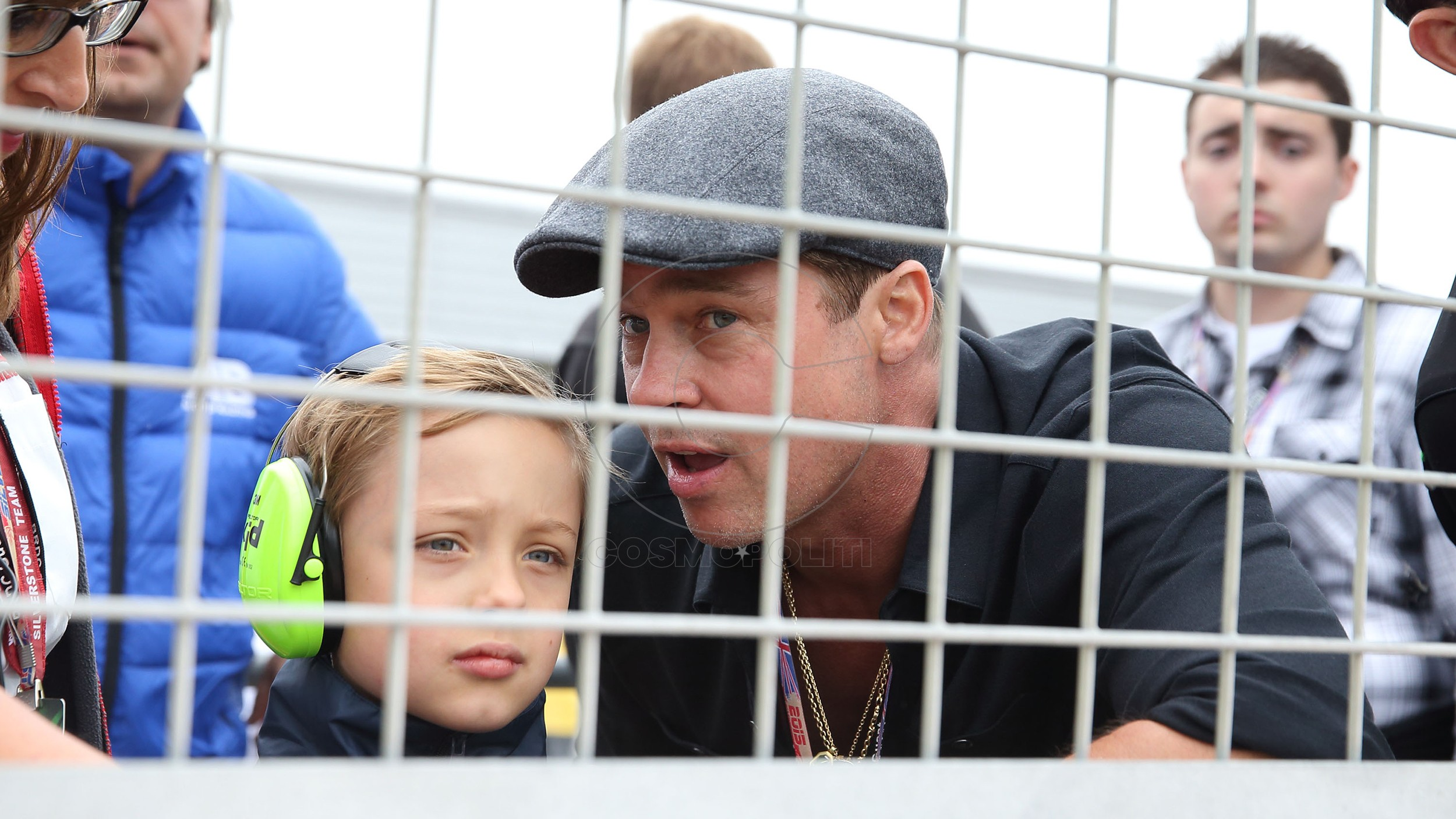 NORTHAMPTON, ENGLAND - AUGUST 30:  Brad Pitt and his son Knox-Jolie Pitt attend the MotoGP British Grand Prix race at Silverstone ahead of the release of documentary Hitting The Apex. Pitt is presenting the film, which is out in cinemas 2nd September and on DVD 7th September at Silverstone Circuit on August 30, 2015 in Northampton, England  (Photo by Mike Marsland/WireImage)