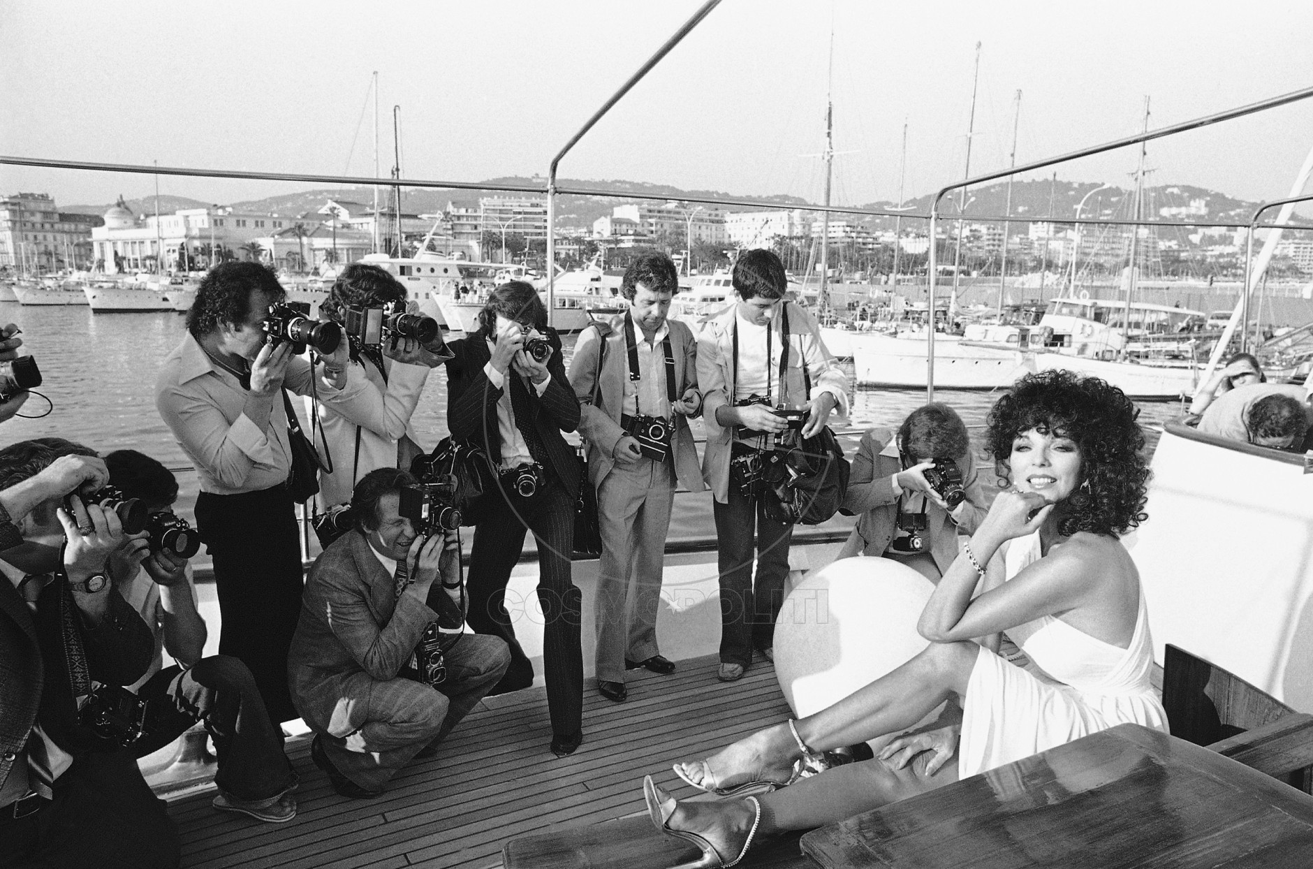 "FILE - In this May 13, 1979 file photo, British actress Joan Collins poses for the media before the presentation of her film ""The Bitch"" at the 32nd International Film Festival in Cannes, France. The Cannes Film Festival officially gets underway on Wednesday, May 11, 2016 and as usual it's set to be one of the most dazzling events in the European entertainment calendar. The festival, in its 69th year, brings a mix of Hollywood A-listers and world cinema auteurs to the French Riviera. (AP Photo/ Jean Jacques Levy, File)"