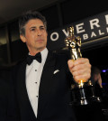 """Alexander Payne with the Oscar for best adapted screenplay for """"The Descendants""""  at the Governors Ball following the 84th Academy Awards on Sunday, Feb. 26, 2012, in the Hollywood section of Los Angeles. (AP Photo/Chris Pizzello)"""