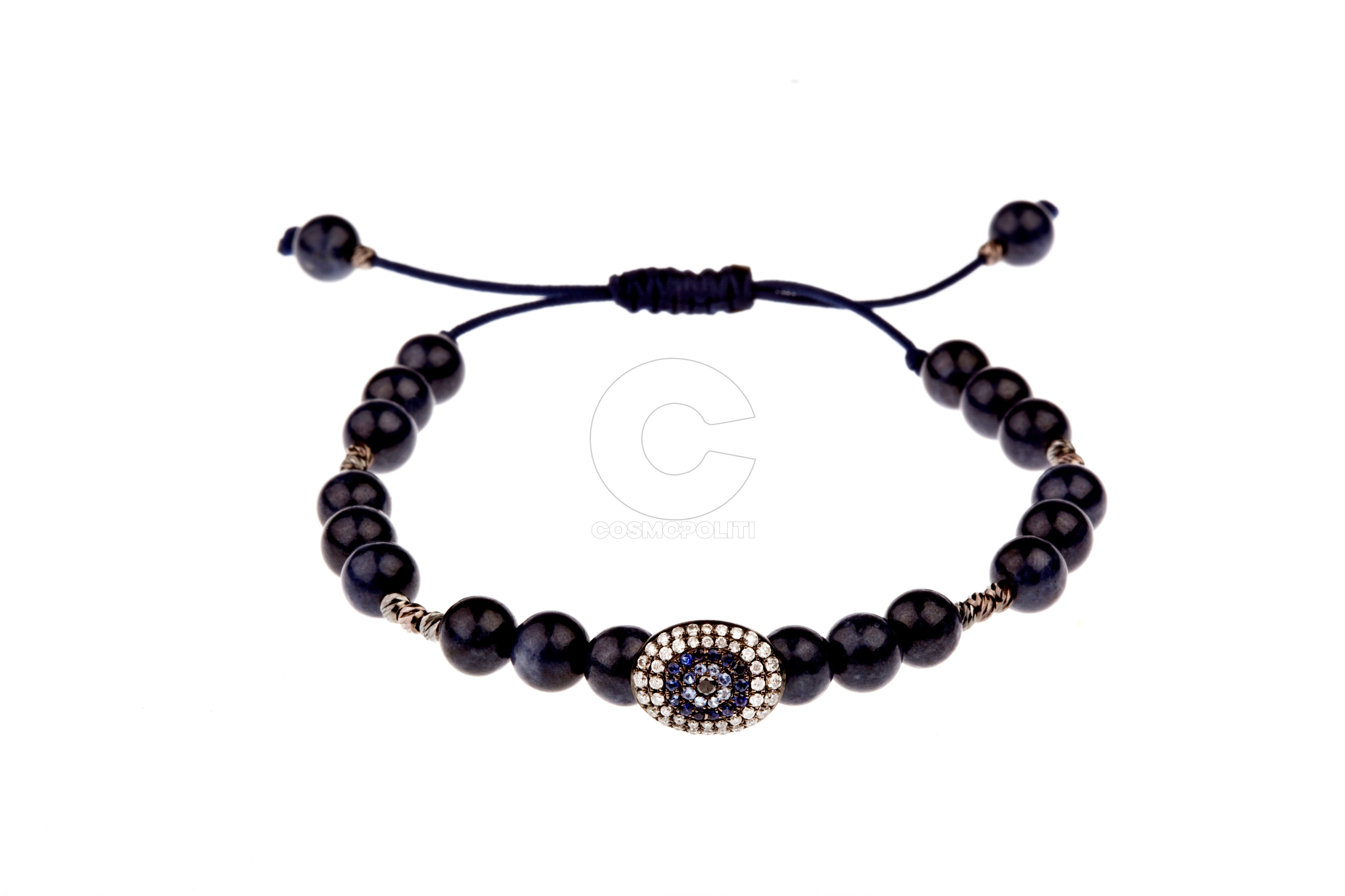 Olympus Collection Bracelet, Demeter Style in 18k gold with white and black diamonds, blue sapphires, navy blue cord, blue sapphire beads and gold diamond cut