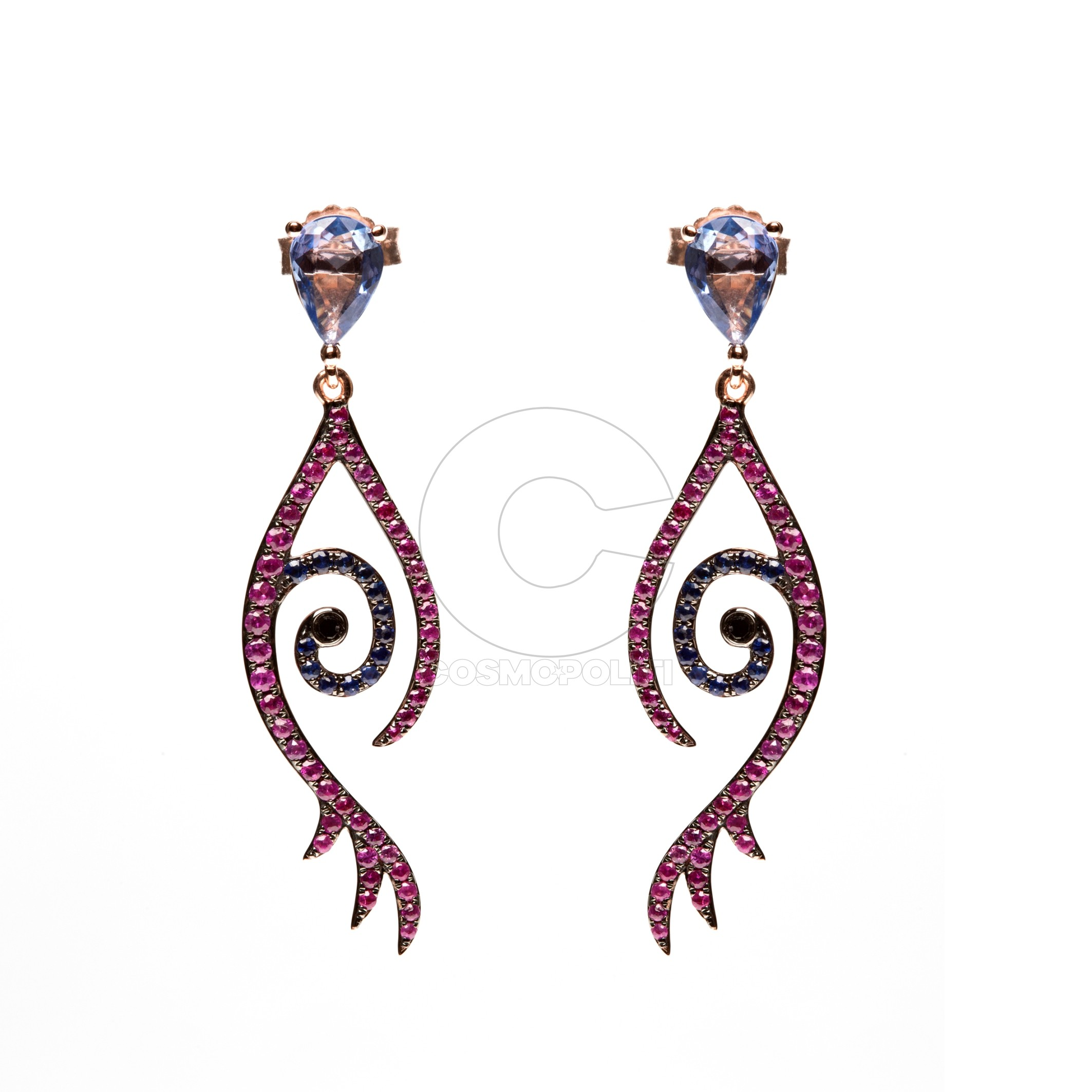 Tattoo Collection Earring in 18k gold with black diamonds, pink and blue sapphires and blue rose cut sapphires