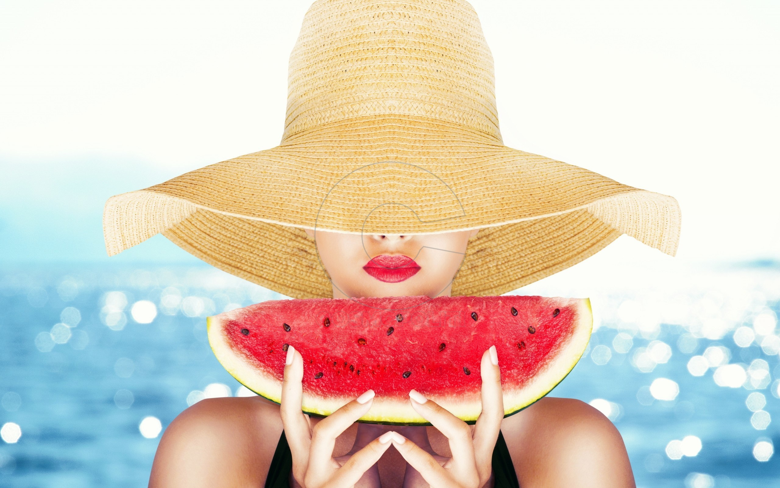 Beautiful-Girl-Slice-Of-Watermelon-Wide-HD-Wallpaper