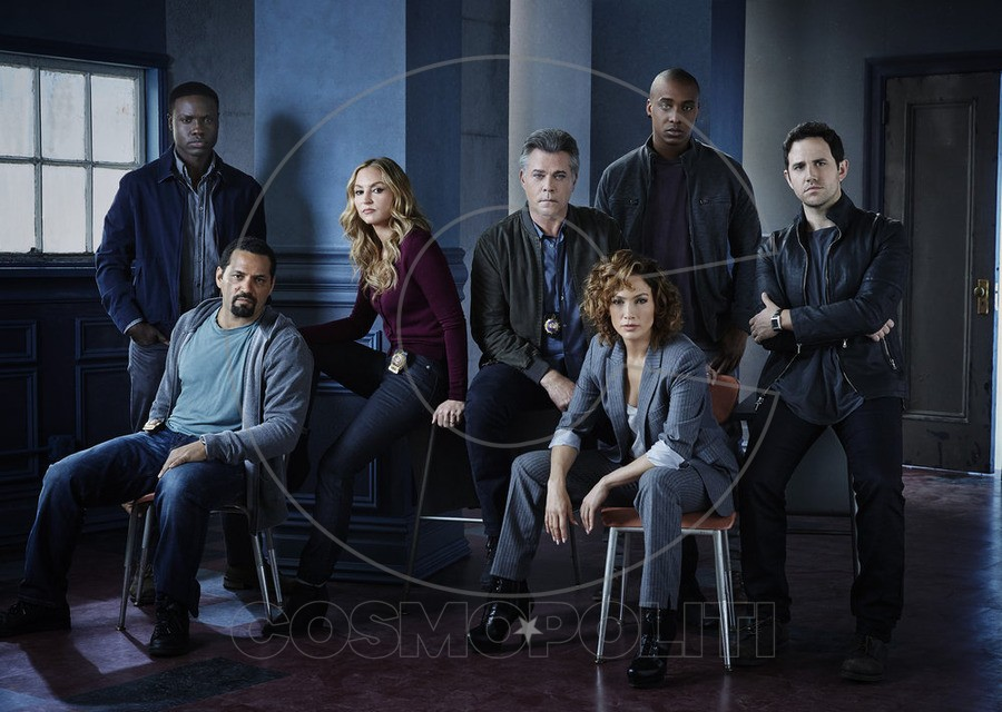 SHADES OF BLUE -- Season: 1 -- Pictured: (l-r) Vincent Laresca as Tony Espada, Dayo Okeniyi as Michael Loman, Drea de Matteo as Tess Nazario, Ray Liotta as Bill Wozniak, Jennifer Lopez as Harlee Santos, Hampton Fluker as Patrick Tufo, Santino Fontana as Stuart -- (Photo by: Jeff Riedel/NBC)