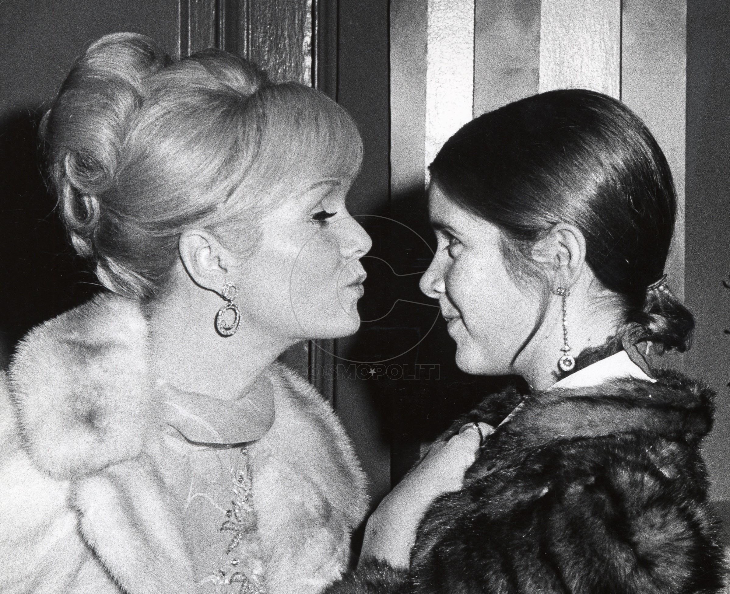 Debbie Reynolds and Carrie Fisher during Debbie Reynolds sighting at the Town Hall, New York City for the School Benefit at Town Hall - November 6, 1972 at Town Hall, New York City in New York City, New York, United States. (Photo by Ron Galella/WireImage)