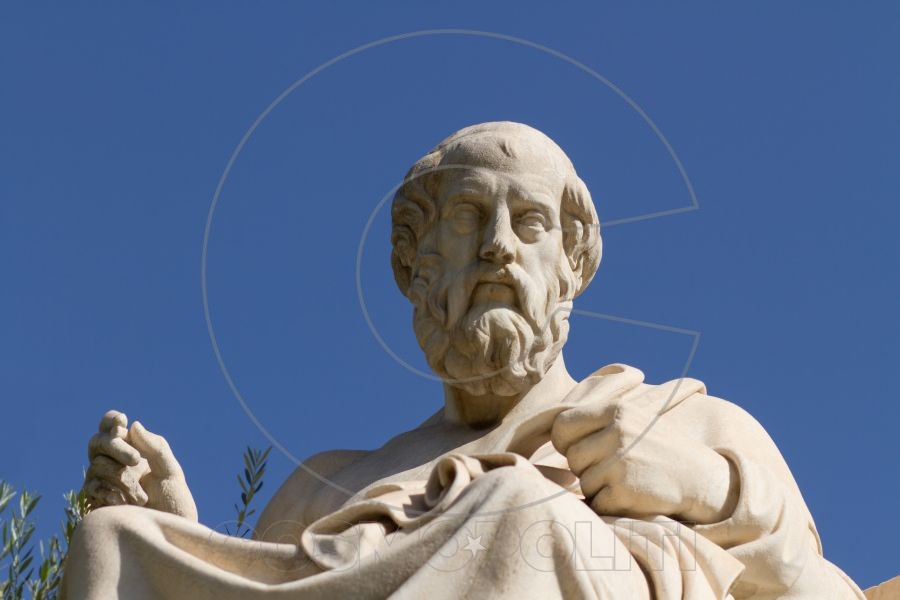 Plato Greek philosopher. A disciple of Socrates and the teacher of Aristotle he founded the Academy in Athens. This is his statue located before the Academy of Athens Greece.