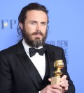 BEVERLY HILLS, CA - JANUARY 08:  Casey Affleck poses in the press room during the 74th Annual Golden Globe Awards at The Beverly Hilton Hotel on January 8, 2017 in Beverly Hills, California.  (Photo by Venturelli/WireImage)