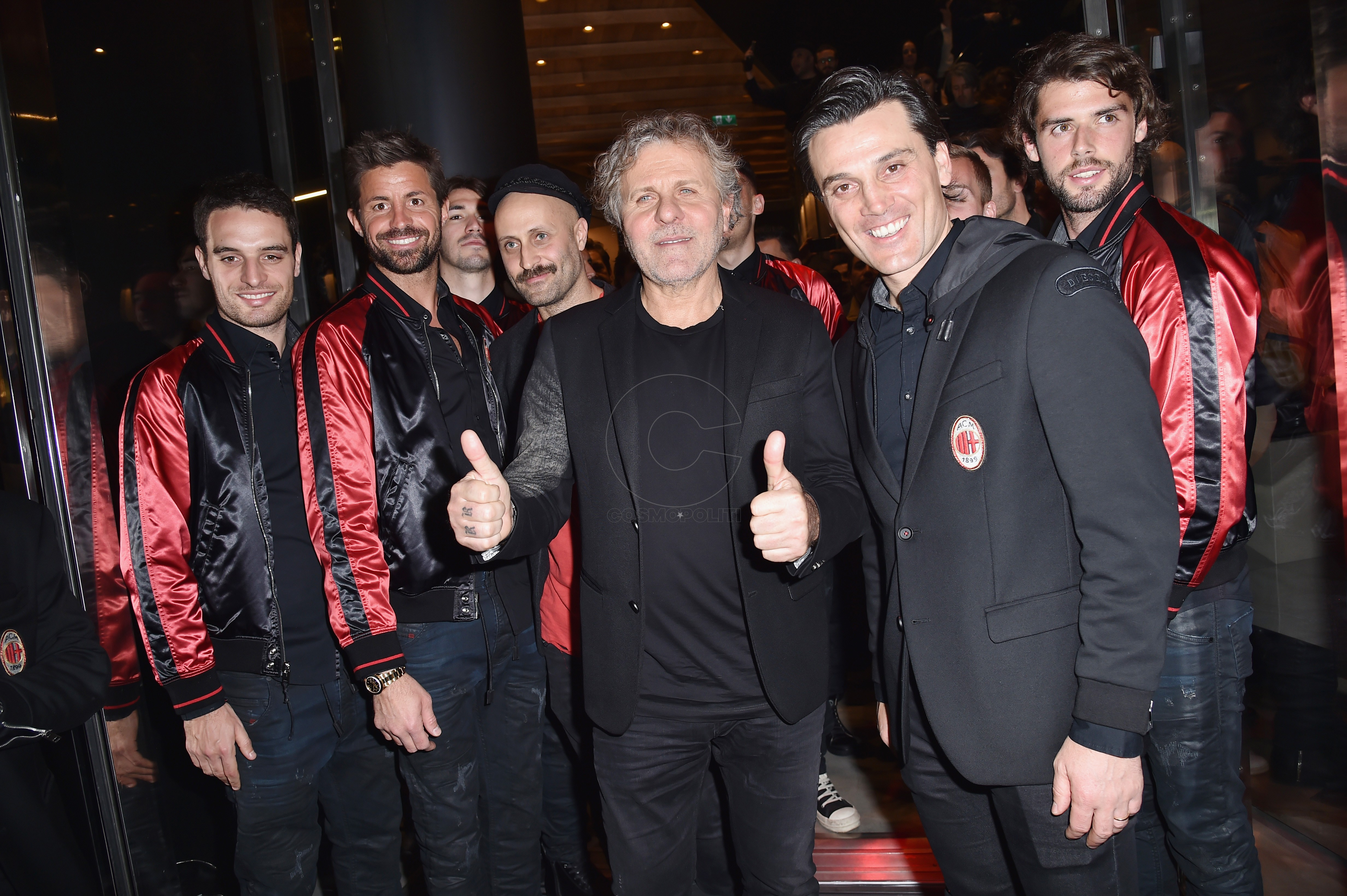 MILAN, ITALY - MARCH 14: (L-R) Marco Storari, Andrea Rosso, Renzo Rosso, Vincenzo Montella and Andrea Poli attend The New Bomber Presentation at the Diesel Store on March 14, 2017 in Milan, Italy. (Photo by Jacopo Raule/Getty Images for Diesel)