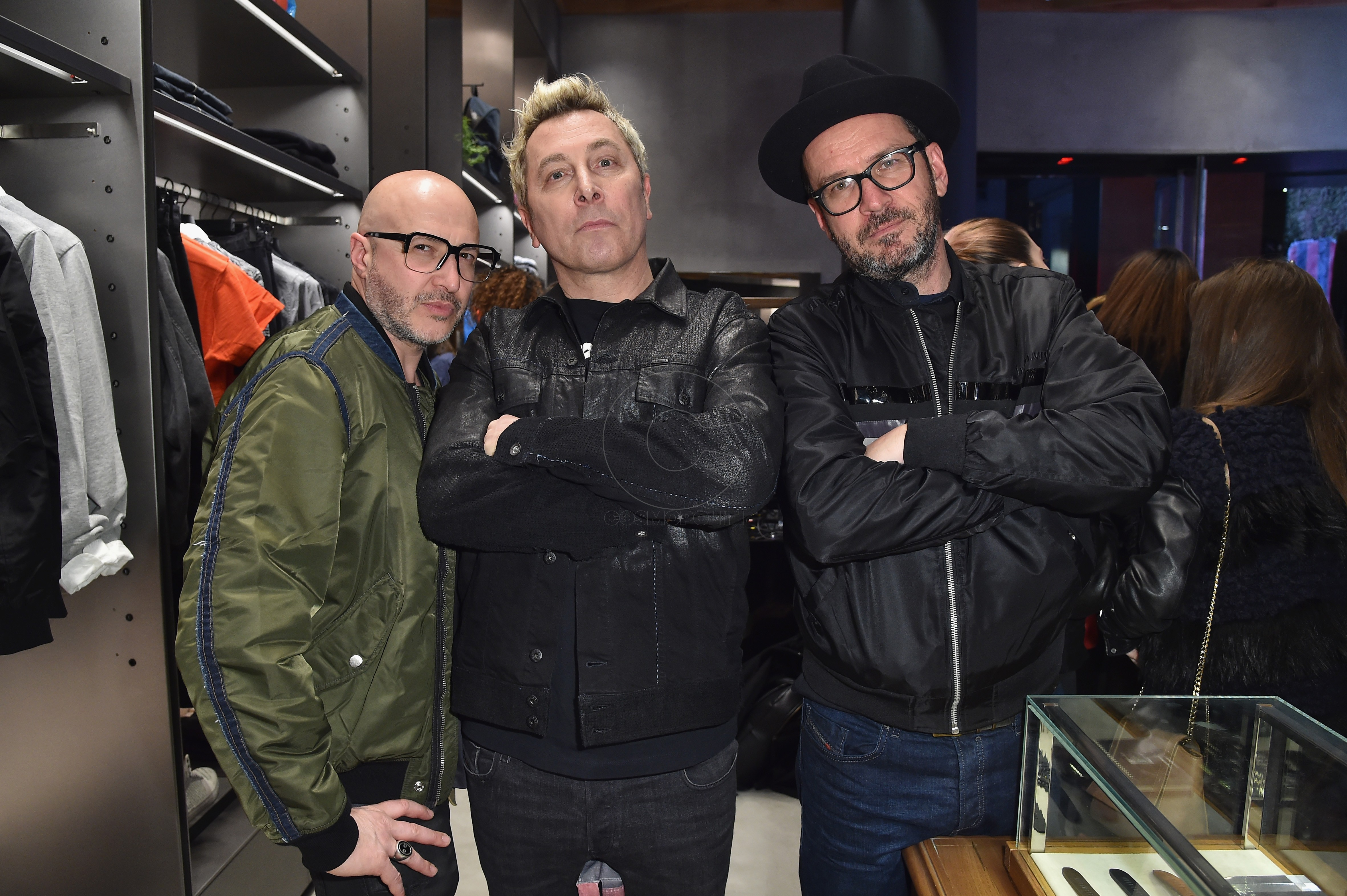 MILAN, ITALY - MARCH 14: Saturnino Celani, Ringo and Settimio Benedusi attend The New Bomber Presentation at the Diesel Store on March 14, 2017 in Milan, Italy. (Photo by Jacopo Raule/Getty Images for Diesel)