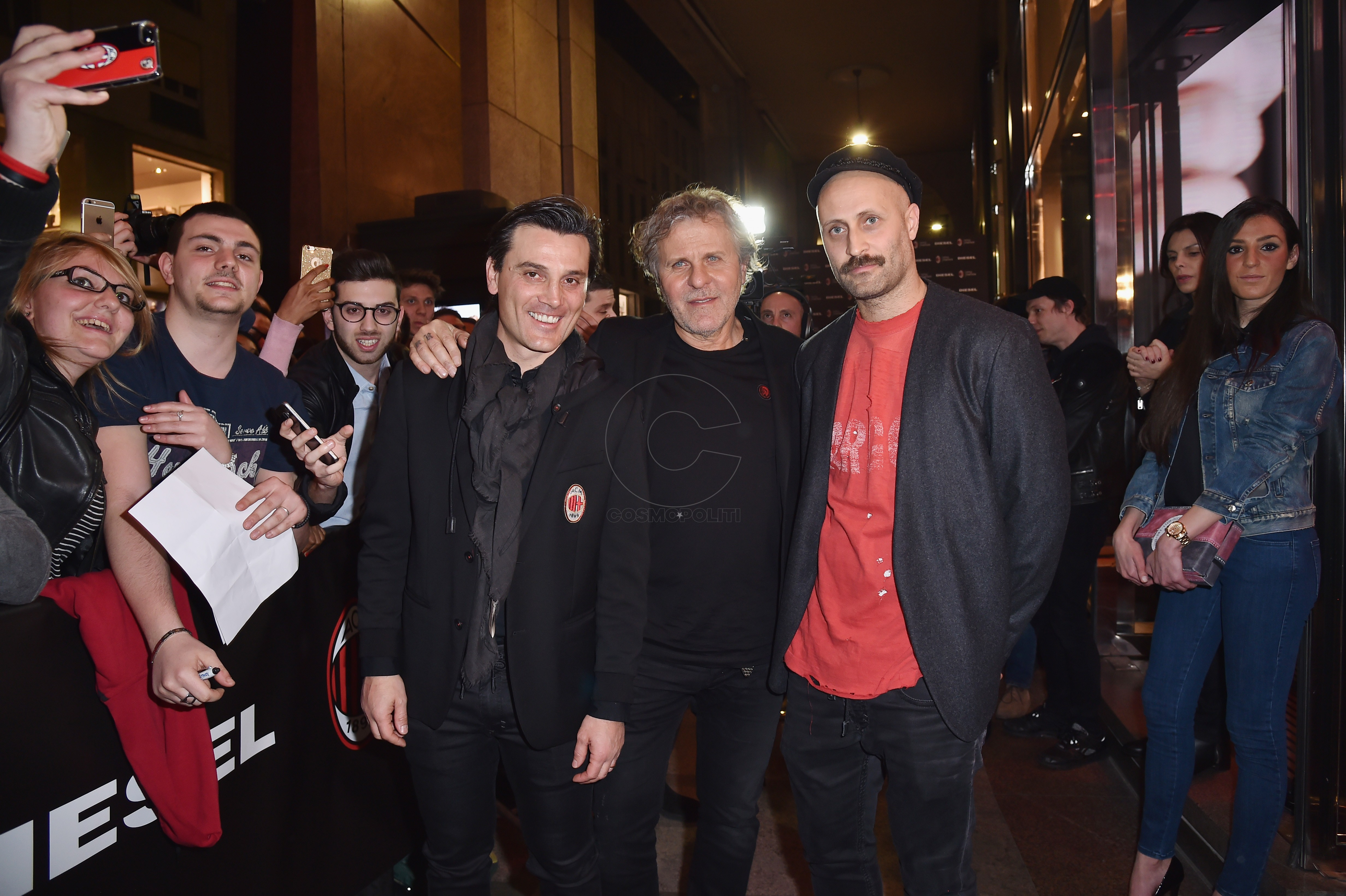 MILAN, ITALY - MARCH 14: Vincenzo Montella, Renzo Rosso and Andrea Rosso attend The New Bomber Presentation at the Diesel Store on March 14, 2017 in Milan, Italy. (Photo by Jacopo Raule/Getty Images for Diesel)