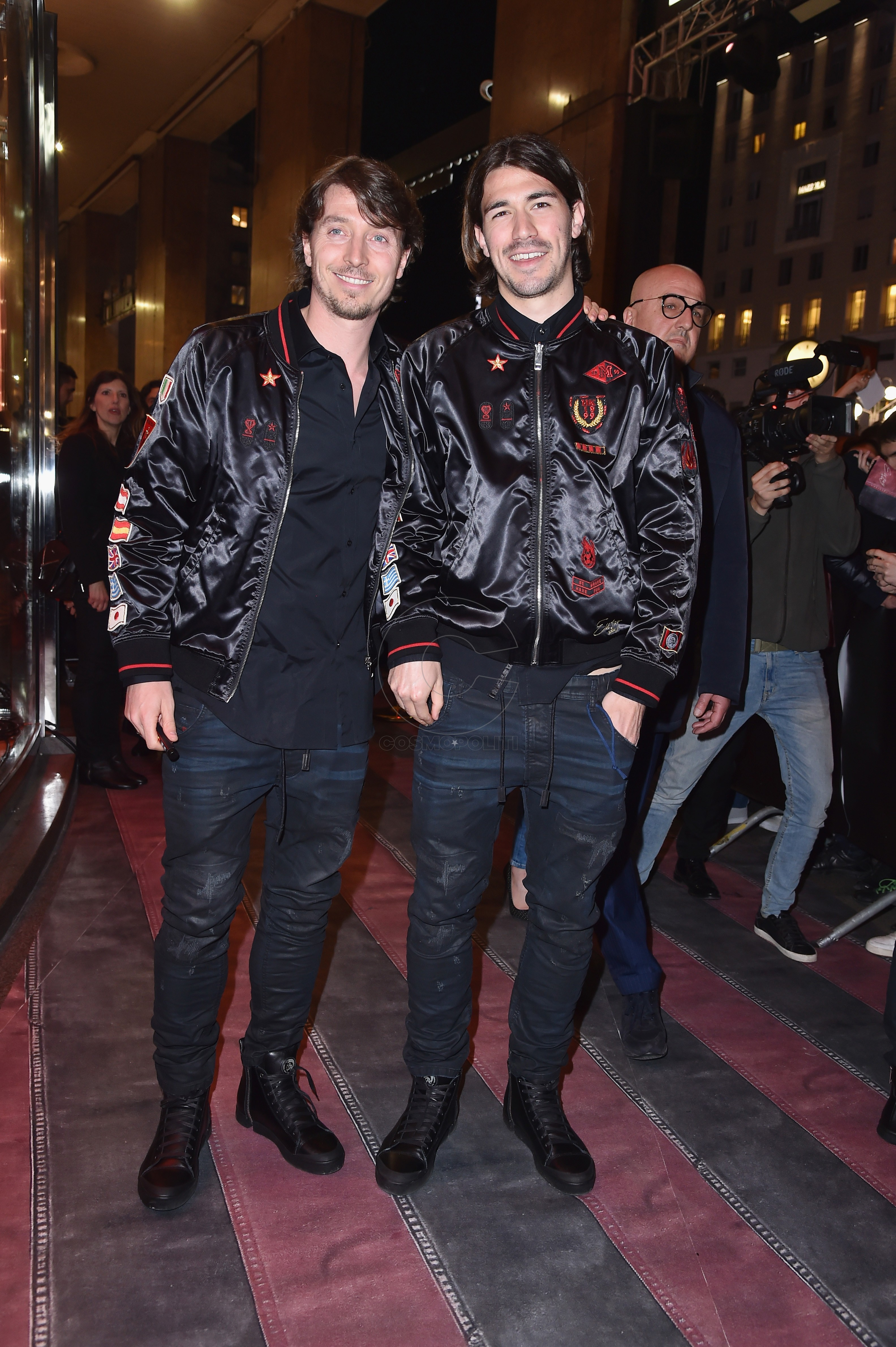 MILAN, ITALY - MARCH 14: Riccardo Montolivo and Alessio Romagnoli attend The New Bomber Presentation at the Diesel Store on March 14, 2017 in Milan, Italy. (Photo by Jacopo Raule/Getty Images for Diesel)