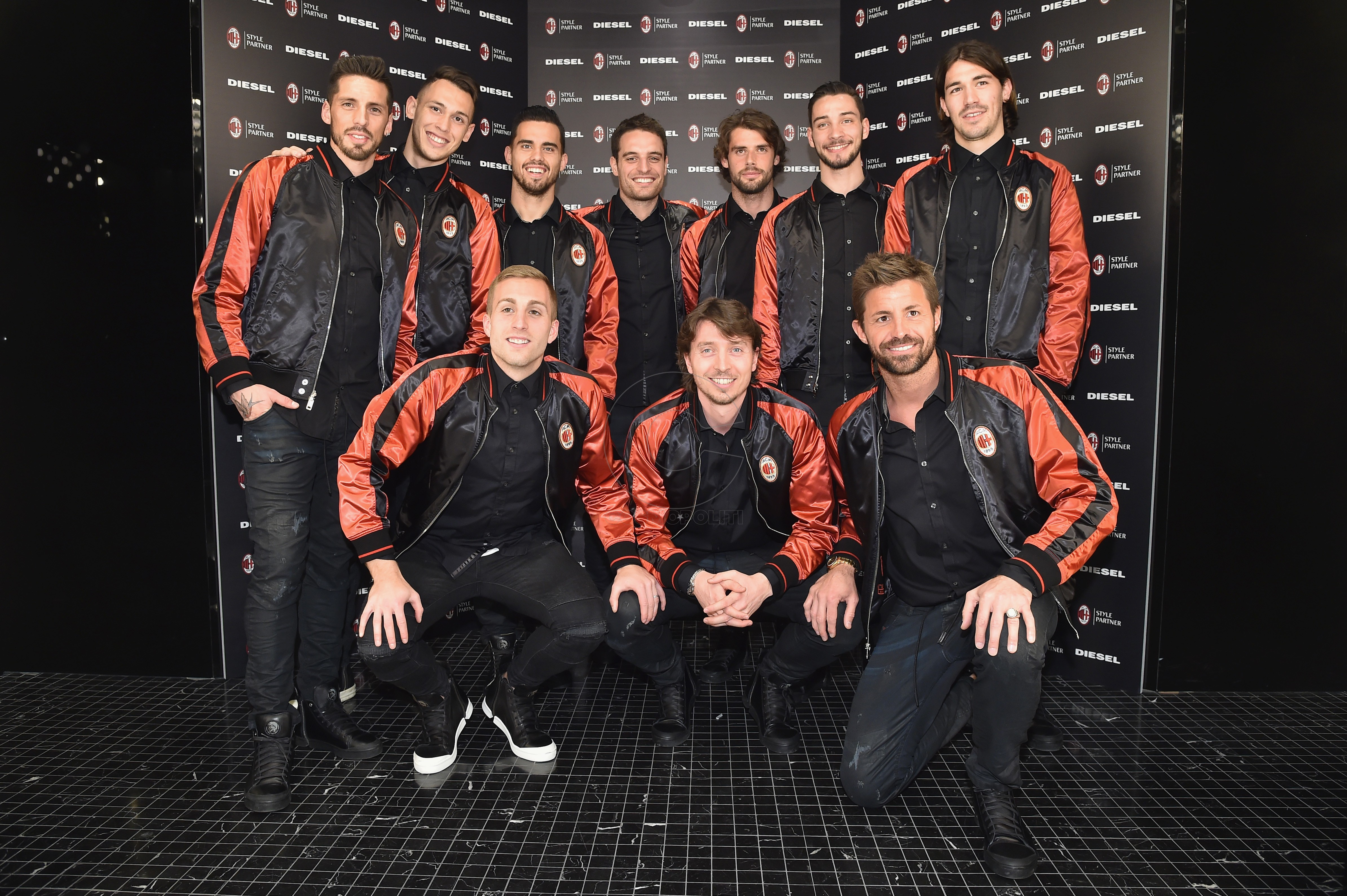 MILAN, ITALY - MARCH 14: (L-R 2nd Row) Jose Ernesto Sosa, Lucas Ocampos, Jesus Joaquin Fernandez Saez de la Torre (also know as Suso), Giacomo Bonaventura, Andrea Poli, Mattia de Sciglio, Alessio Romagnoli, (L-R 1st Row) Gerard Deulofeu, Riccardo Montolivo and Marco Storari attend The New Bomber Presentation at the Diesel Store on March 14, 2017 in Milan, Italy. (Photo by Jacopo Raule/Getty Images for Diesel)