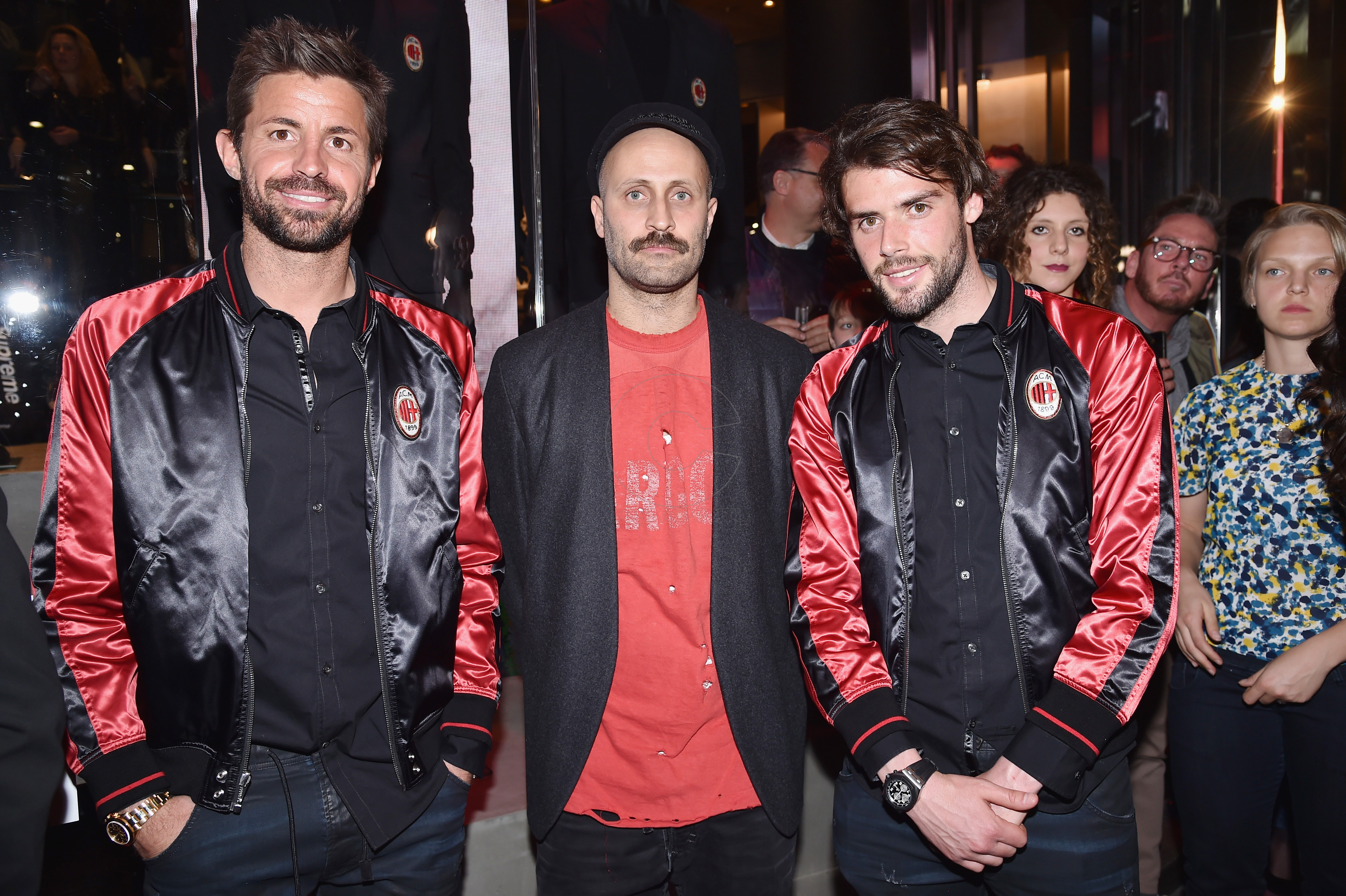 MILAN, ITALY - MARCH 14: Marco Storari, Andrea Rosso and Andrea Poli attend The New Bomber Presentation at the Diesel Store on March 14, 2017 in Milan, Italy. (Photo by Jacopo Raule/Getty Images for Diesel)