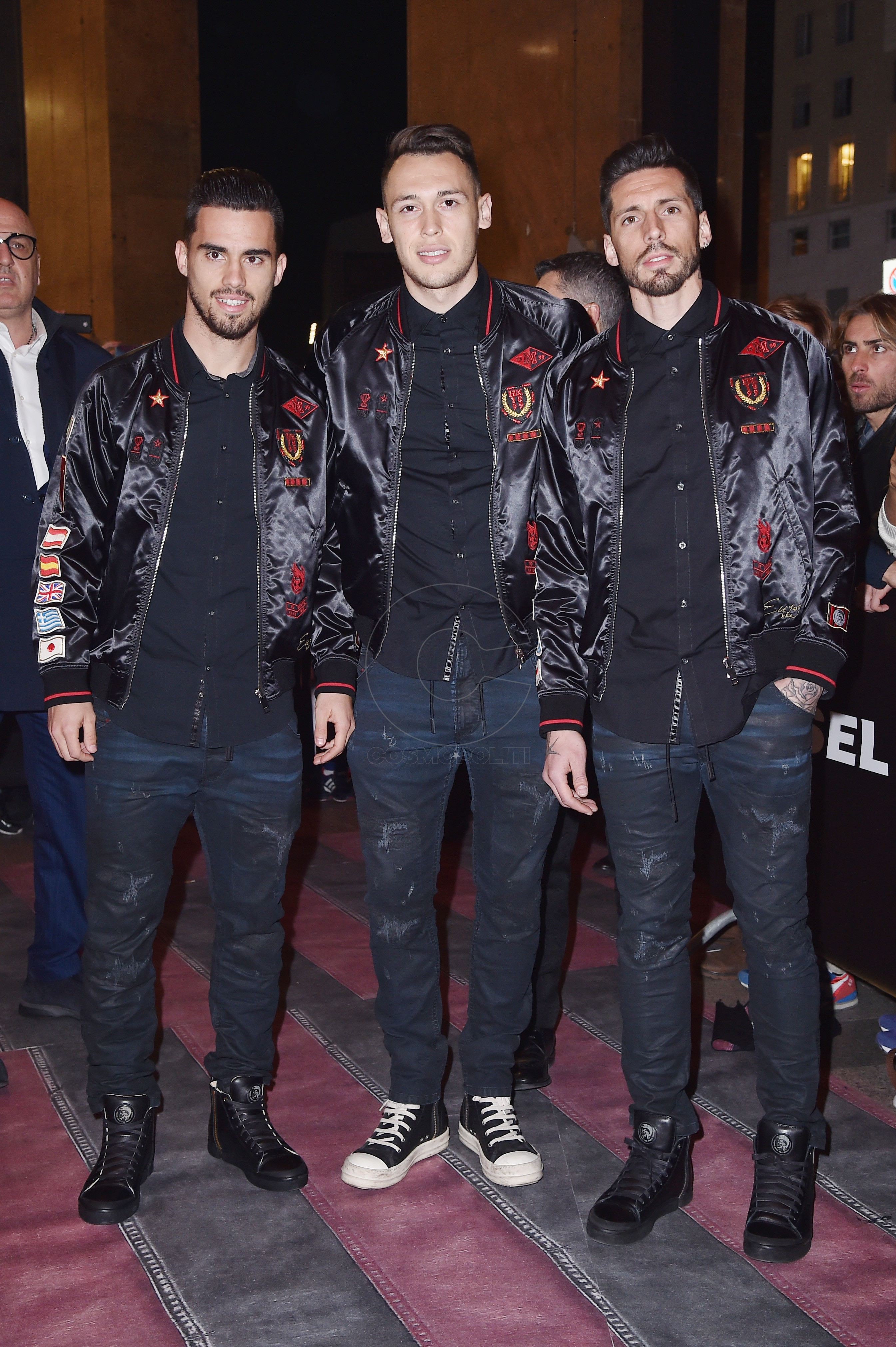 MILAN, ITALY - MARCH 14: (L-R) Jesus Joaquin Fernandez Saez de la Torre (also know as Suso), Lucas Ocampos and Jose Ernesto Sosa attend The New Bomber Presentation at the Diesel Store on March 14, 2017 in Milan, Italy. (Photo by Jacopo Raule/Getty Images for Diesel)