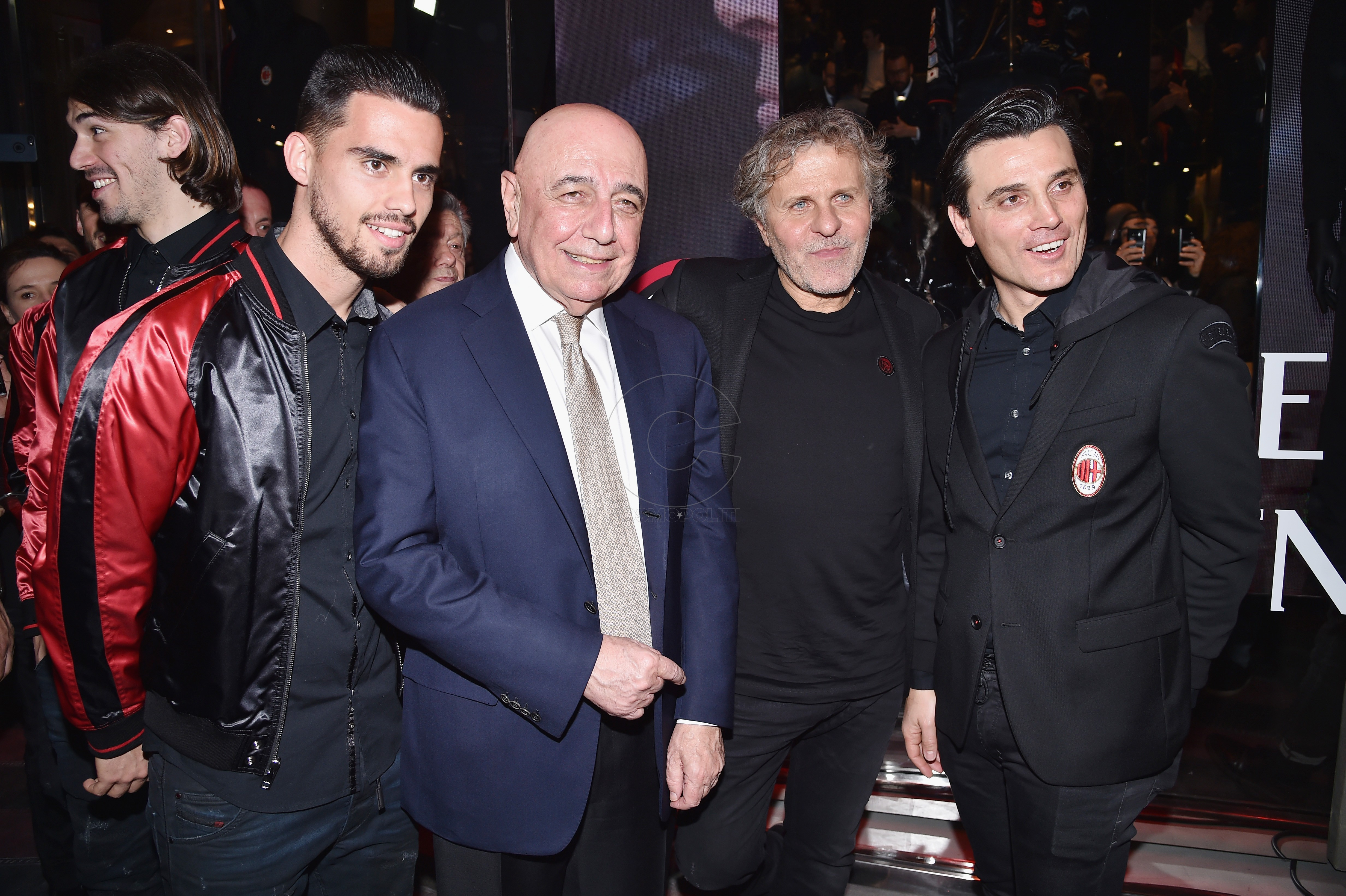 MILAN, ITALY - MARCH 14: (L-R) Jesus Joaquin Fernandez Saez de la Torre (also know as Suso), Adriano Galliani, Renzo Rosso and Vincenzo Montella attend The New Bomber Presentation at the Diesel Store on March 14, 2017 in Milan, Italy. (Photo by Jacopo Raule/Getty Images for Diesel)