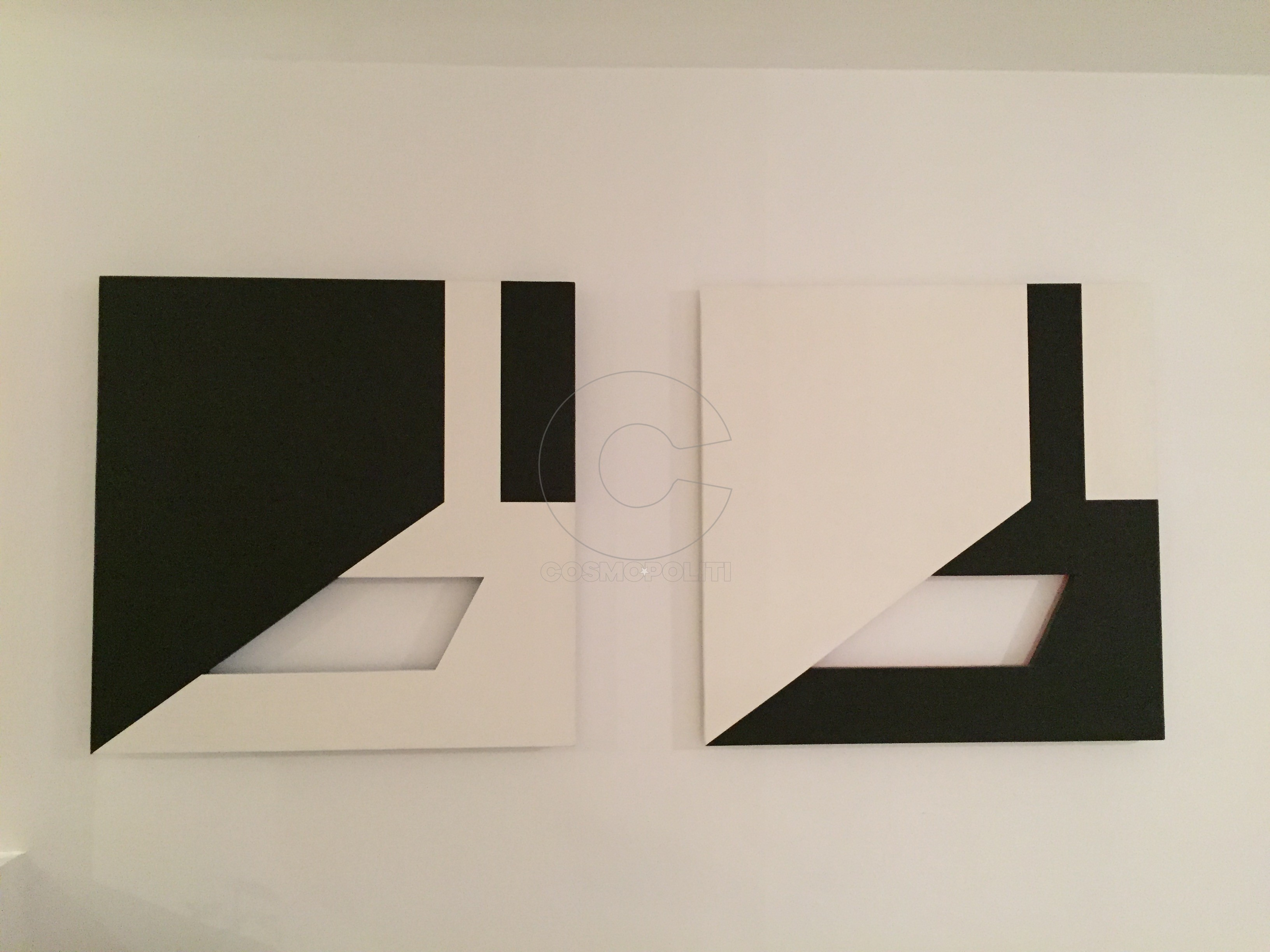Espace positif-Espace negatif 1979 ακρυλικό σε ξύλο 75x75 cm x2