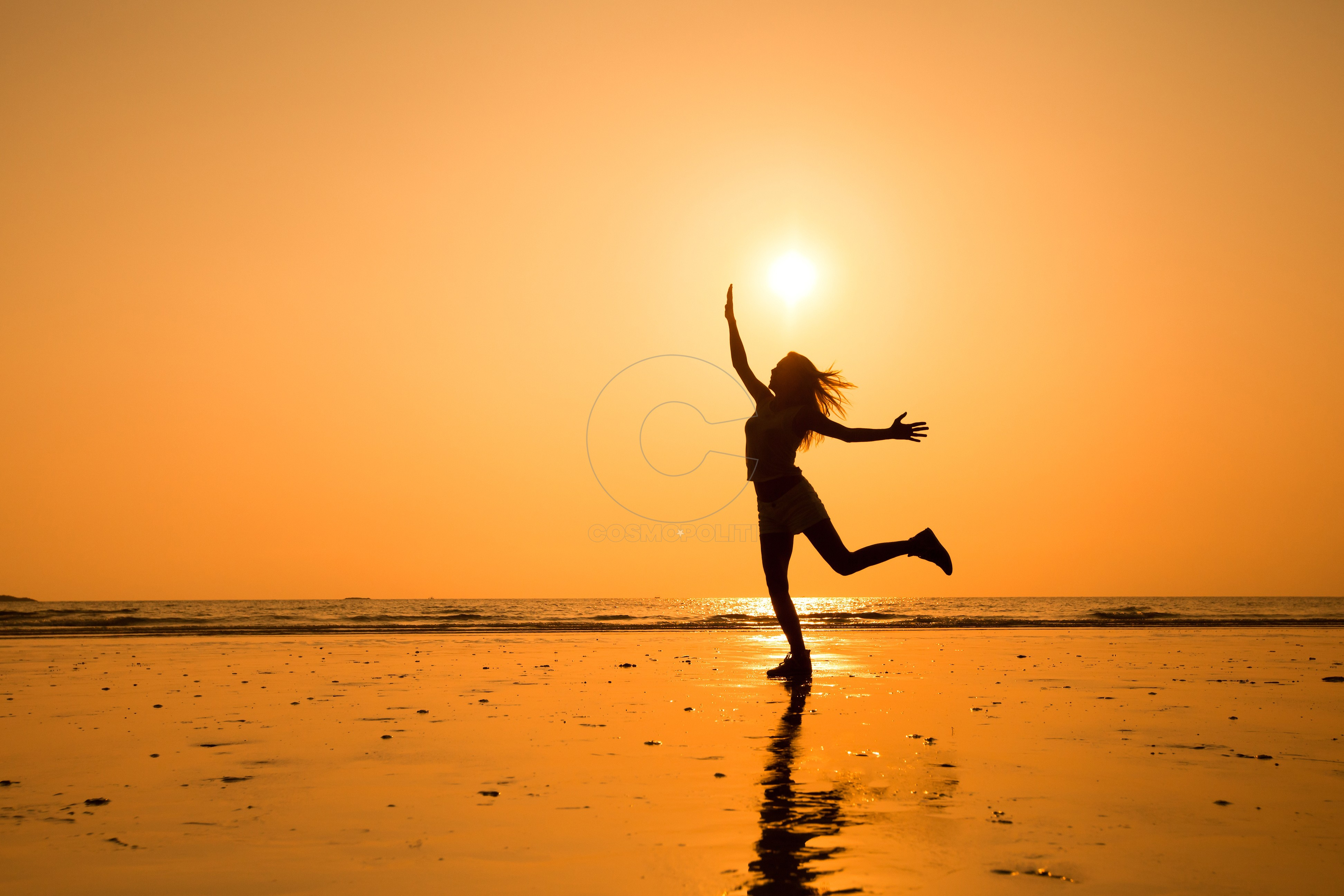 abstract silhouette of happy young jumping girl, healthy life