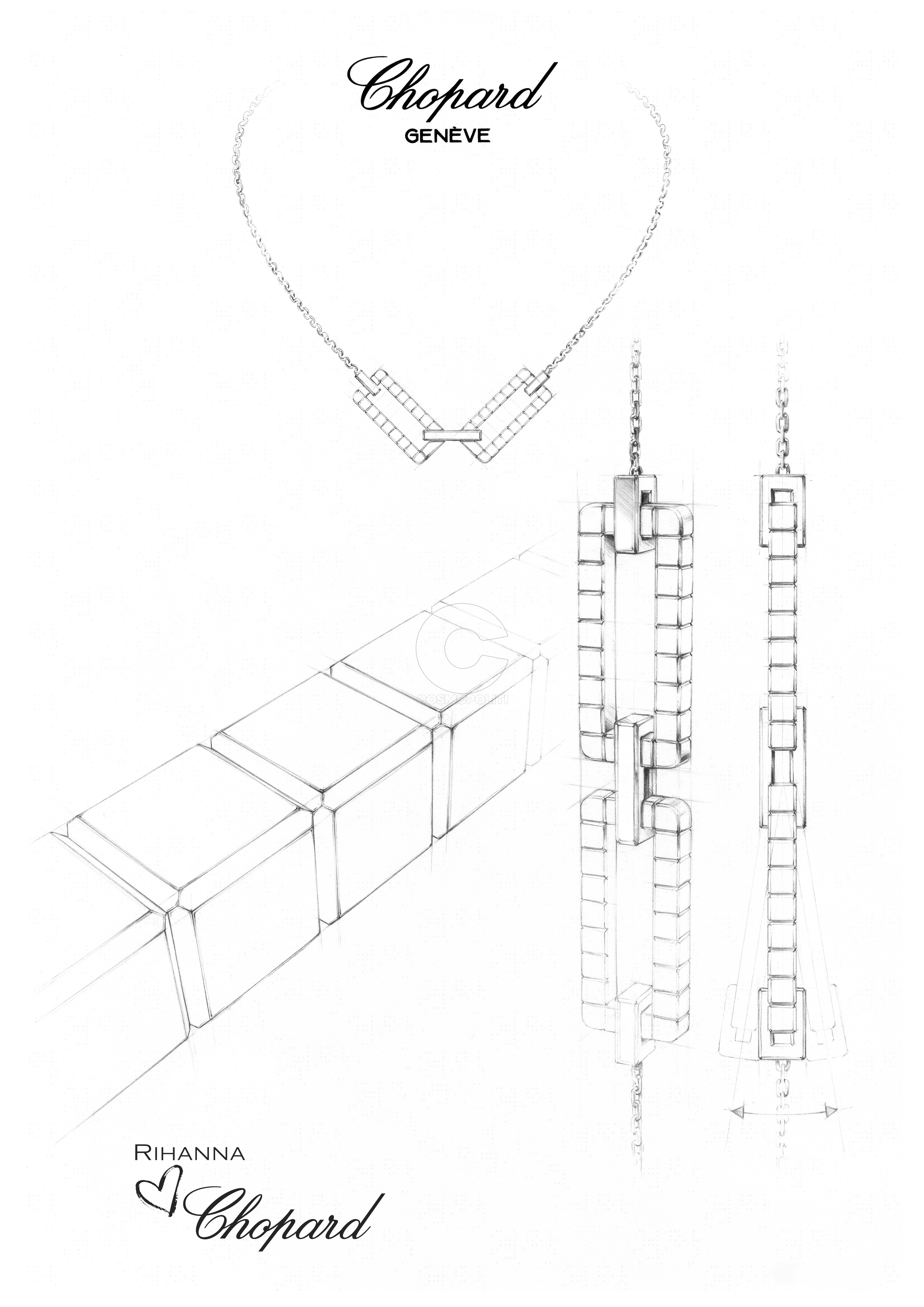 RIHANNA ♥ CHOPARD Joaillerie collection sketch
