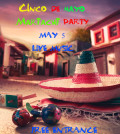 """Mexican fiesta background with a hat """"sombrero"""" and """"maracas"""" in a mexican town"""