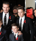 "LONDON, UNITED KINGDOM - DECEMBER 01: (L-R) Romeo Beckham, David Beckham, Cruz Beckham, Brooklyn Beckham and Victoria Beckham attend the World premiere of ""The Class of 92"" at Odeon West End on December 1, 2013 in London, England. (Photo by Stuart C. Wilson/Getty Images)"