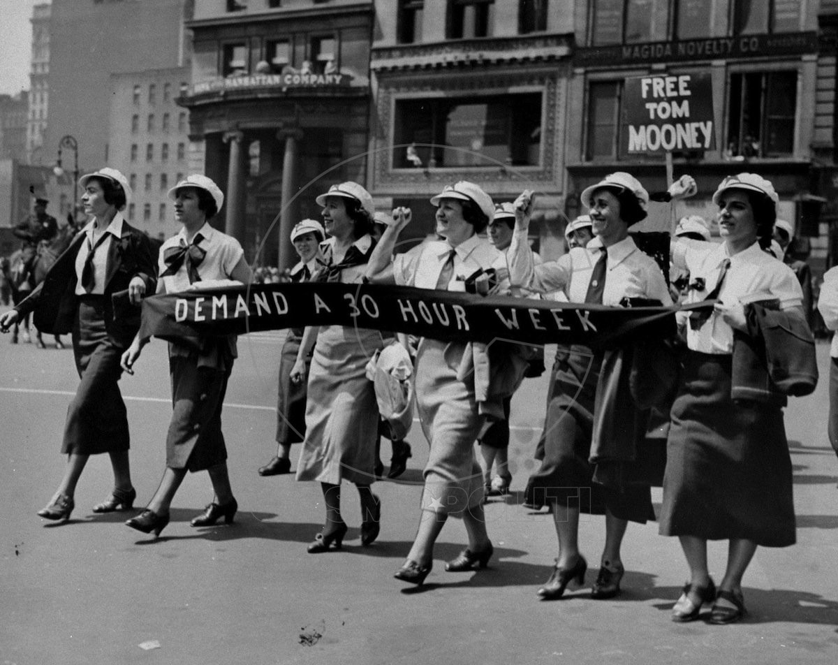 UNITED STATES - MAY 01: Women workers in the May Day Parade in Union Square demand a 30 hour work week. (Photo by Tom Watson/NY Daily News Archive via Getty Images)