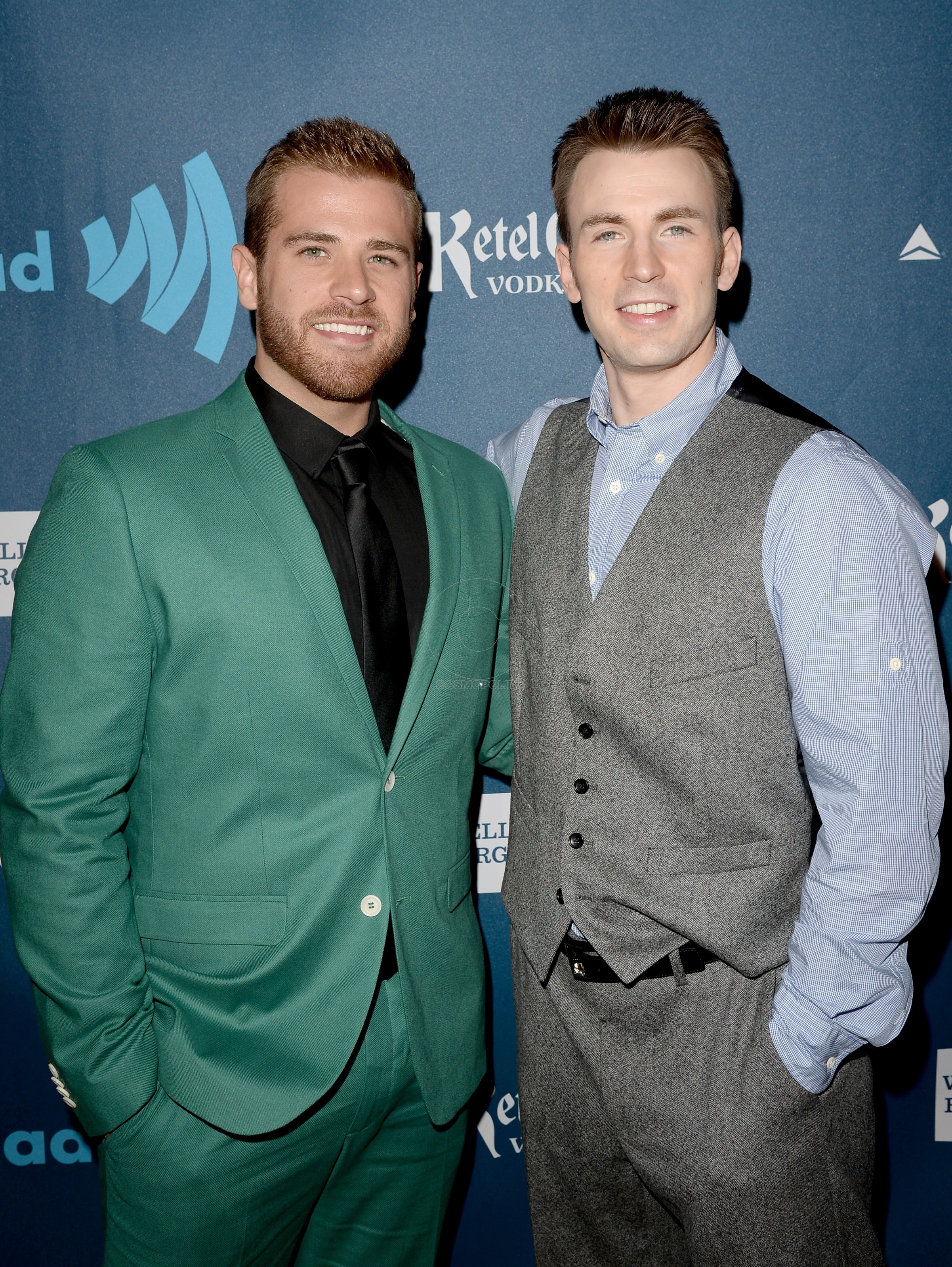 LOS ANGELES, CA - APRIL 20: Actors Scott Evans (L) and Chris Evans arrive at the 24th Annual GLAAD Media Awards at JW Marriott Los Angeles at L.A. LIVE on April 20, 2013 in Los Angeles, California. (Photo by Jason Merritt/Getty Images for GLAAD)