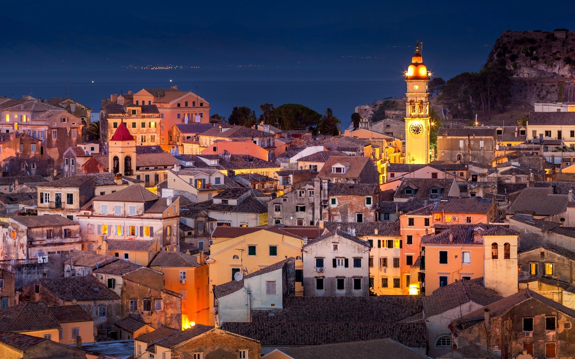 Panoramic view of the citylights of Corfu Town