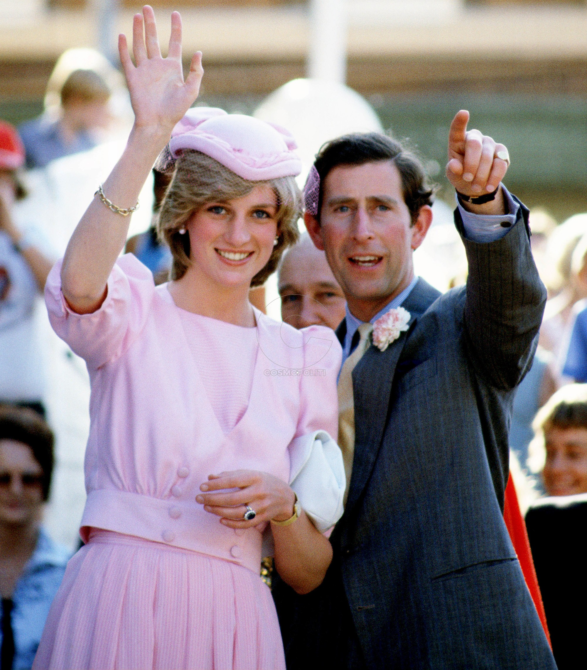 AUSTRALIA - MARCH 29: Prince Charles, Prince of Wales and Diana, Princess of Wales wave to the crowds of well-wishers during their first tour to Australia (Photo by Tim Graham/Getty Images)