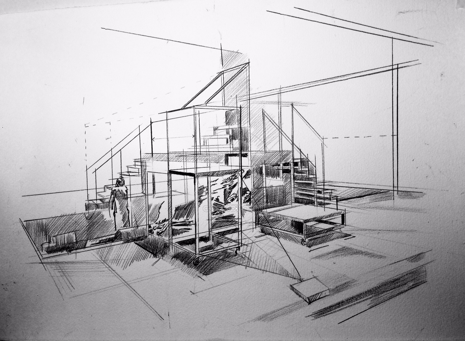 Constructivist installation, drawing,pencil, 35X50cm.