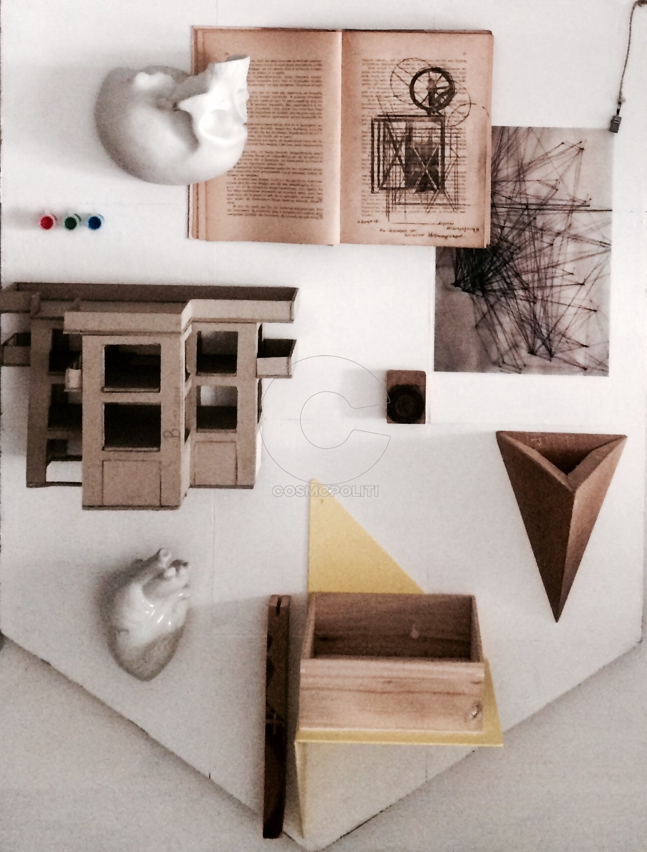 discontinuity images , Drawing, philosofical book, sculpture, architectural maquette, wooden box, photographic slide