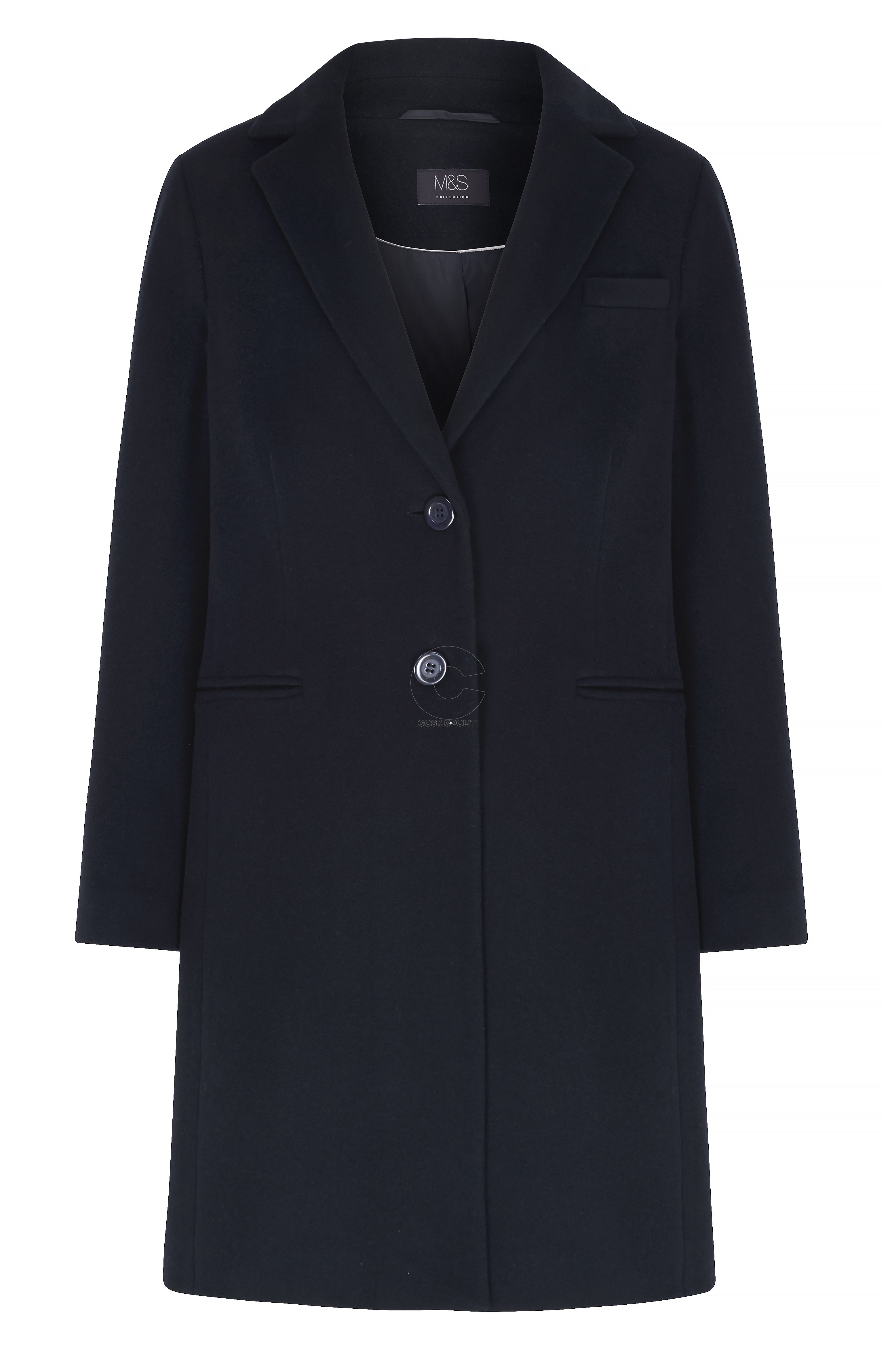 M&S COLLECTION NAVY CASHMERE BLEND COAT