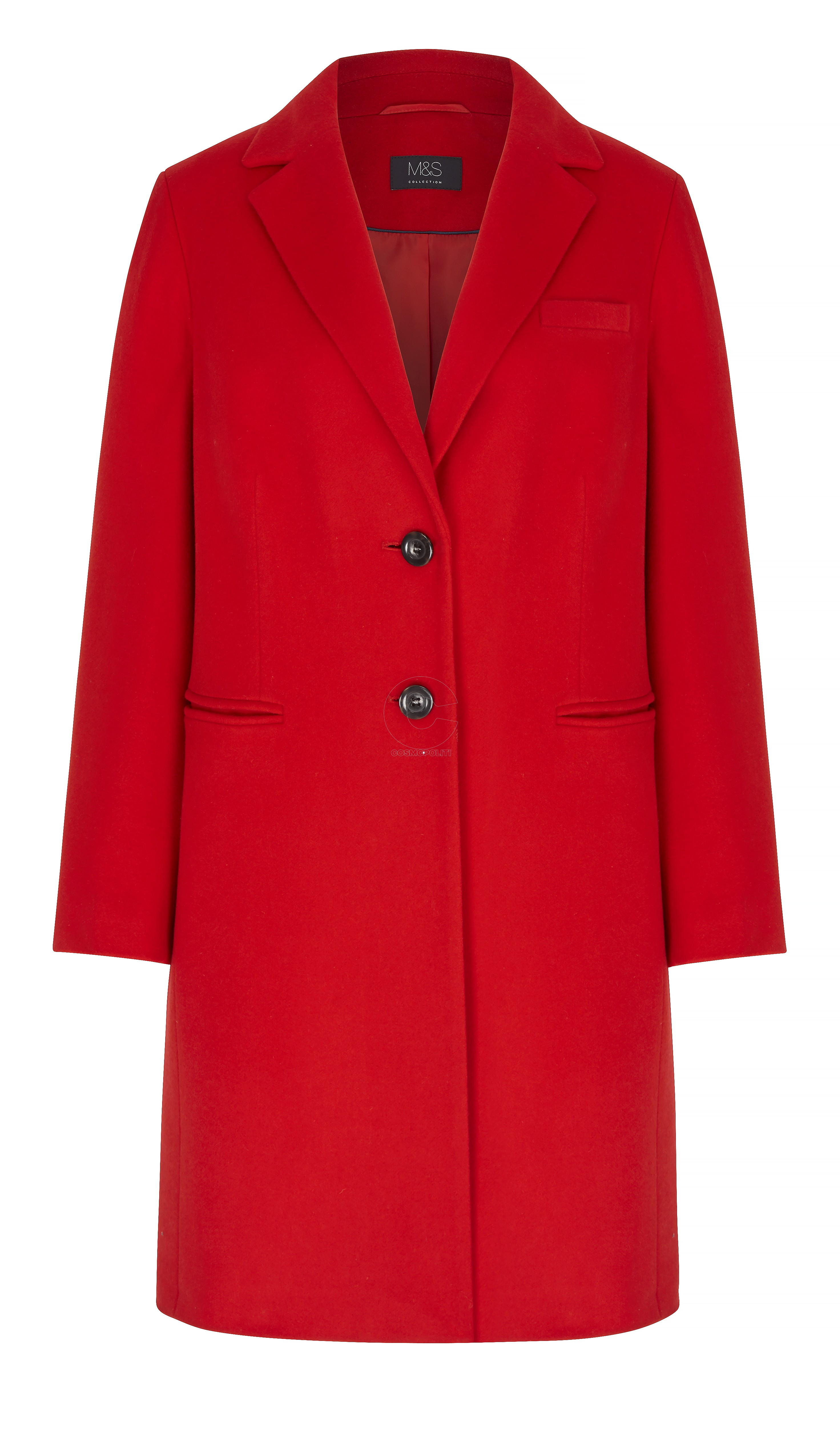 M&S COLLECTION RED CASHMERE BLEND COAT