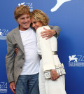 Actors Jane Fonda (R) and Robert Redford pose during a photocall for the movie Our Souls at Night at the 74th Venice Film Festival in Venice, Italy September 1, 2017. REUTERS/Alessandro Bianchi