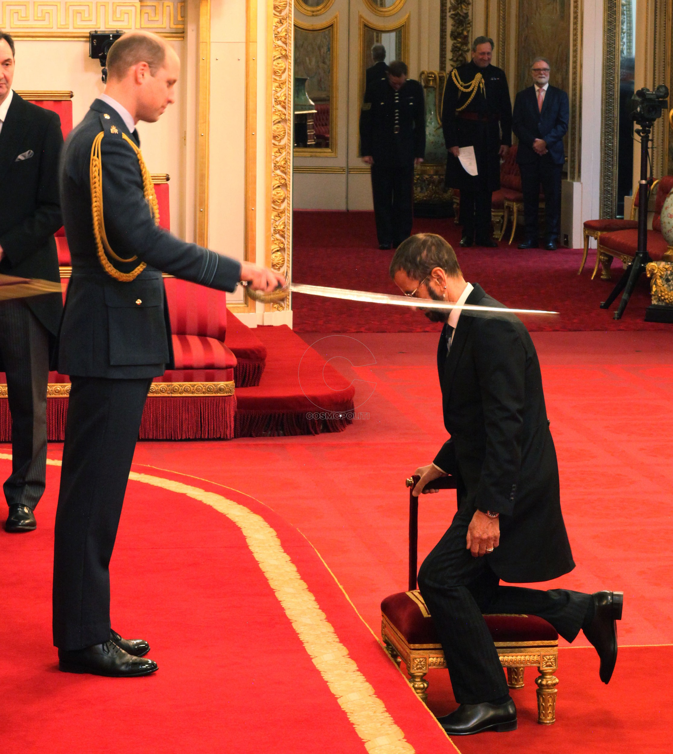 Investitures at Buckingham Palace. Beatle Sir Richard Starkey, also known as Ringo Starr, is made a Knight Bachelor of the British Empire by the Duke of Cambridge at Buckingham Palace during an Investiture ceremony in London. Picture date: Tuesday March 20, 2018. Photo credit should read: Yui Mok/PA Wire URN:35611492