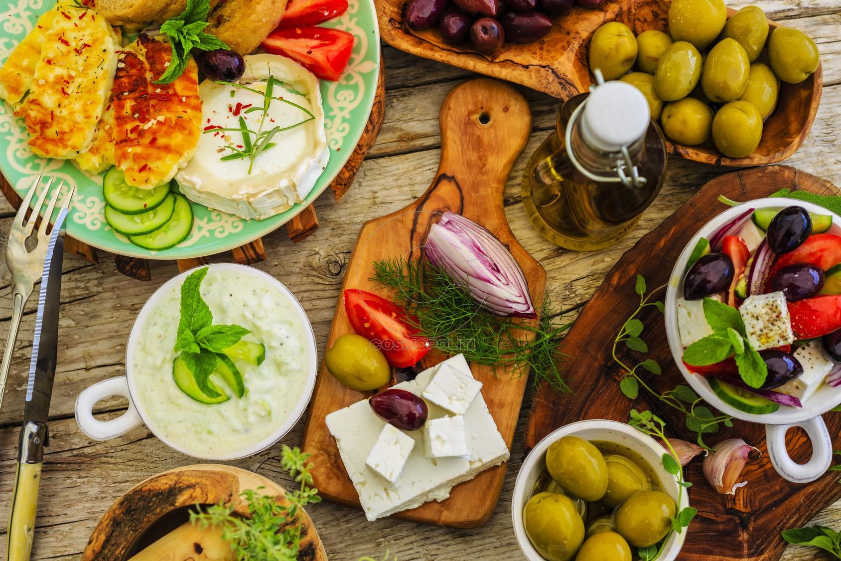 Greek cuisine dishes - Greek salad, choriatiki, halloumi, tzatziki