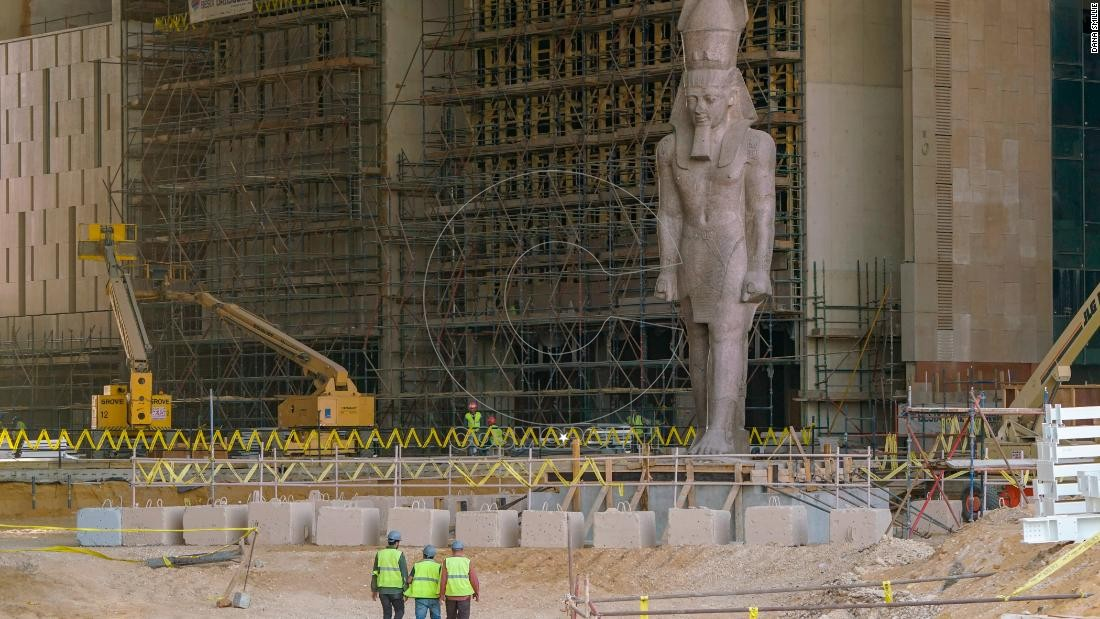 March 25, 2018 - Giza, Egypt- The colossus of Ramses II was moved from downtown Cairo to the GEM site in 2006, and in January 2018 was transfered to its final resting place, in the atrium of the Grand Egyptian Museum. (Dana Smillie for CNN)
