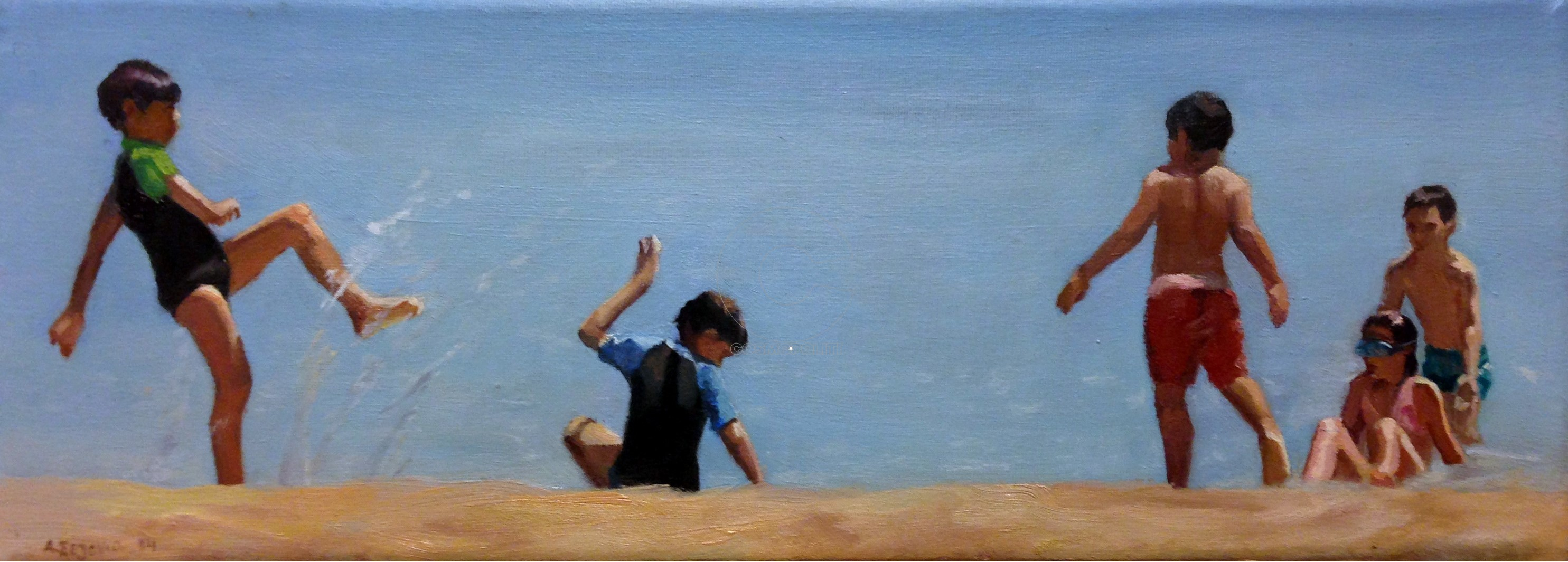 Afroditi Sezenia, At the beach , 15x40cm,Oil on canvas