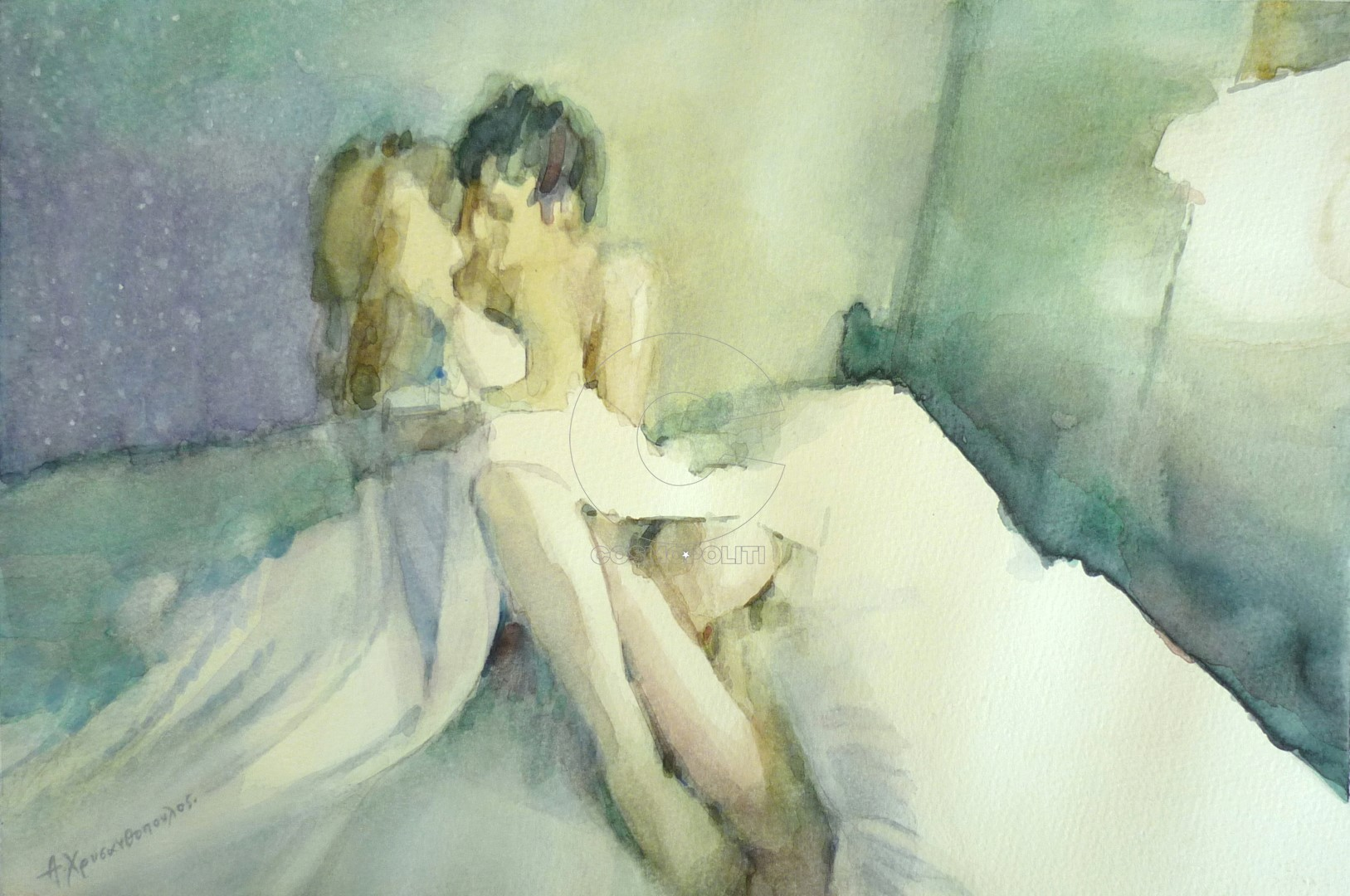 Aristidis Chrysanthopoulos, Hold me, 28Χ42cm, Watercolour