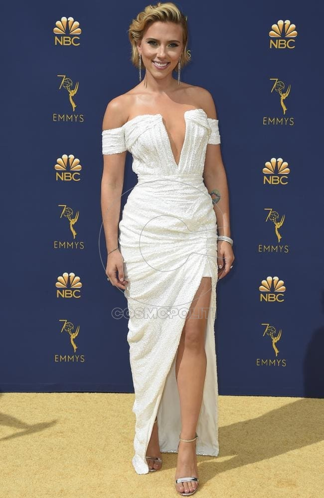 Scarlett Johansson was there to support Emmys host and boyfriend Jost