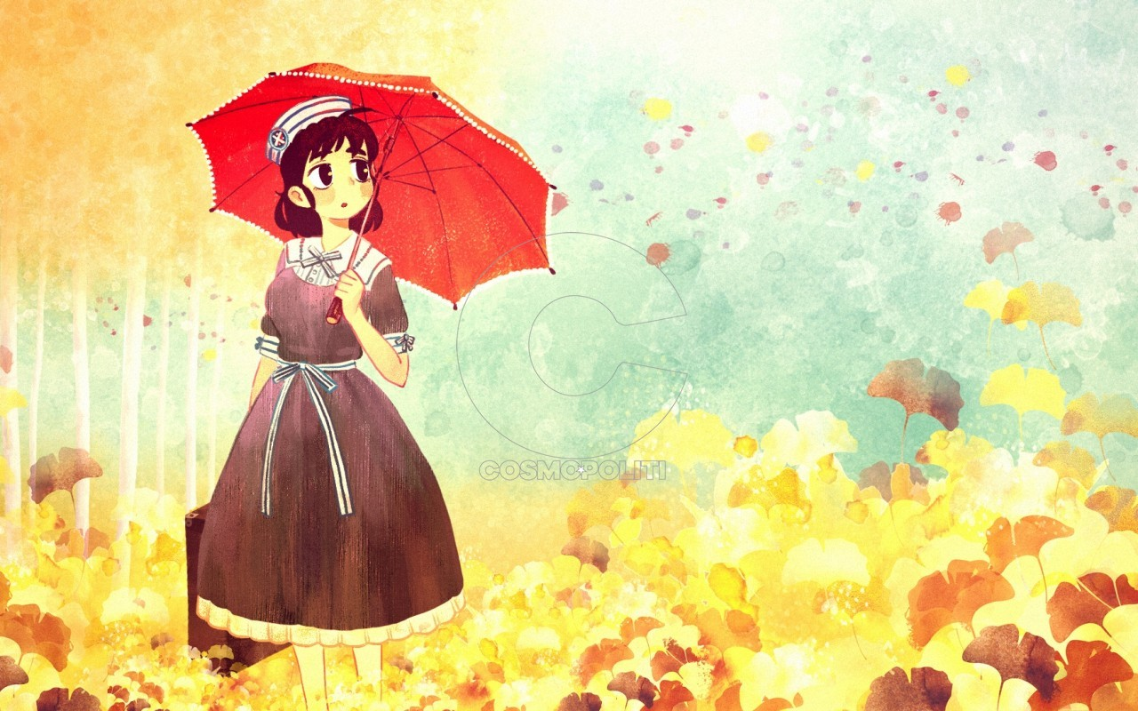 anime-girl-umbrella-autumn-leaves-dress