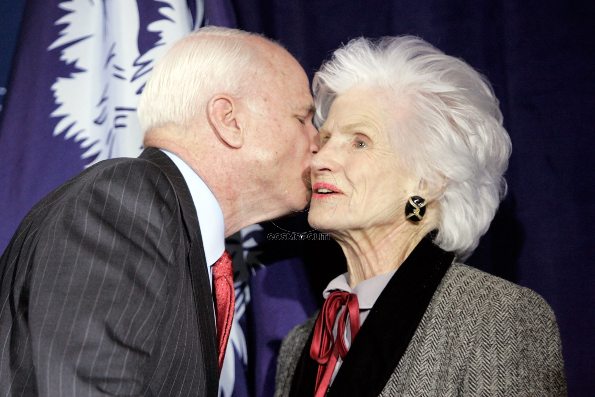Arizona Sen. John McCain thanks supporters, including his mother, Roberta McCain, gathered at The Citadel after his South Carolina primary win in Charleston, South Carolina, Saturday, January 19, 2008. (Photo by Erik Campos/The State/MCT via Getty Images)
