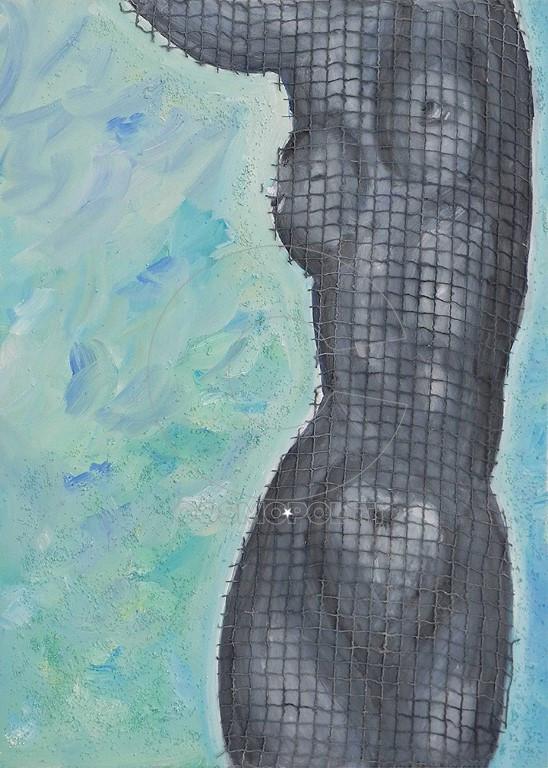 Κανέλλου Εβίτα, Female Nude, 70x50cm, Μικτή τεχνική