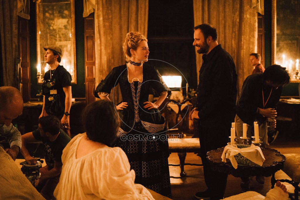 "Emma Stone and director Yorgos Lanthimos on the set of Fox Searchlight Pictures' ""THE FAVOURITE."""