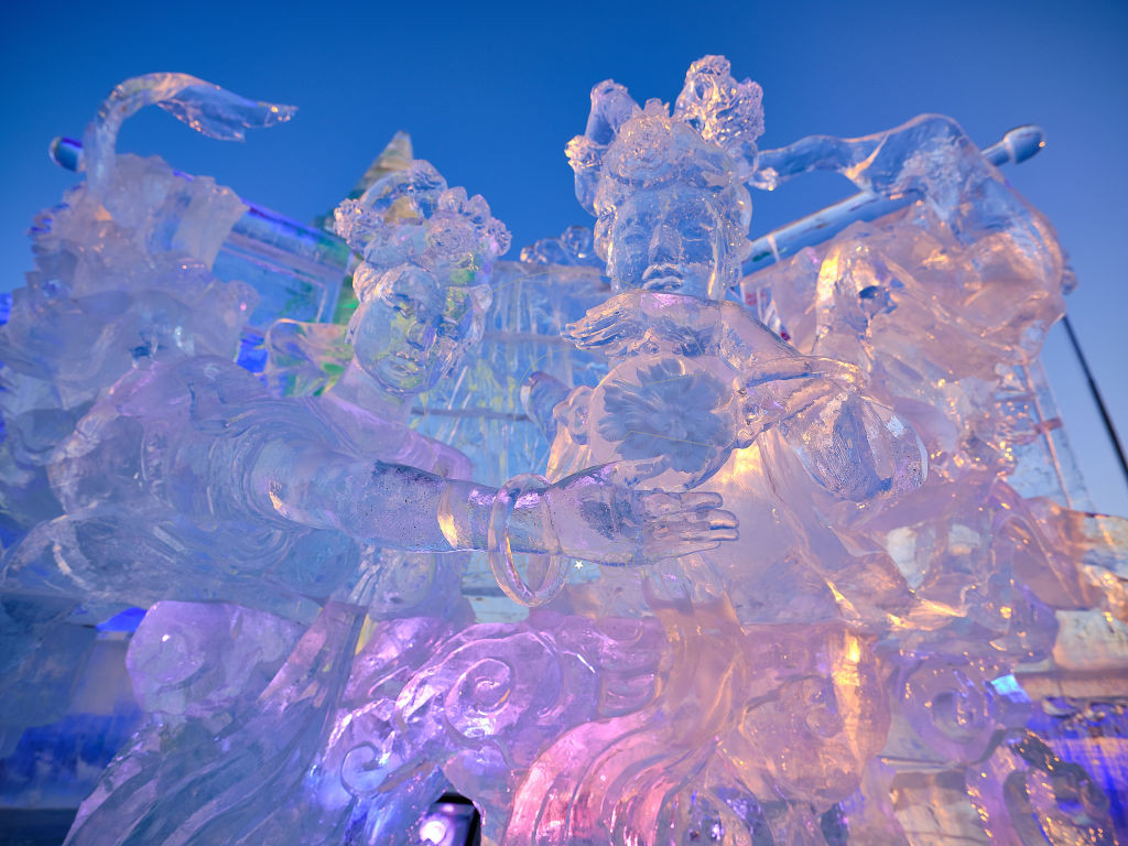 HARBIN, CHINA - JANUARY 05: Ice sculptures are seen during the opening day of 35th Harbin International Ice and Snow Festival at the Harbin Ice and Snow World on January 5, 2019 in Harbin, Heilongjiang Province of China. The 35th Harbin International Ice and Snow Festival kicked off on Saturday in Harbin. (Photo by VCG/VCG via Getty Images)