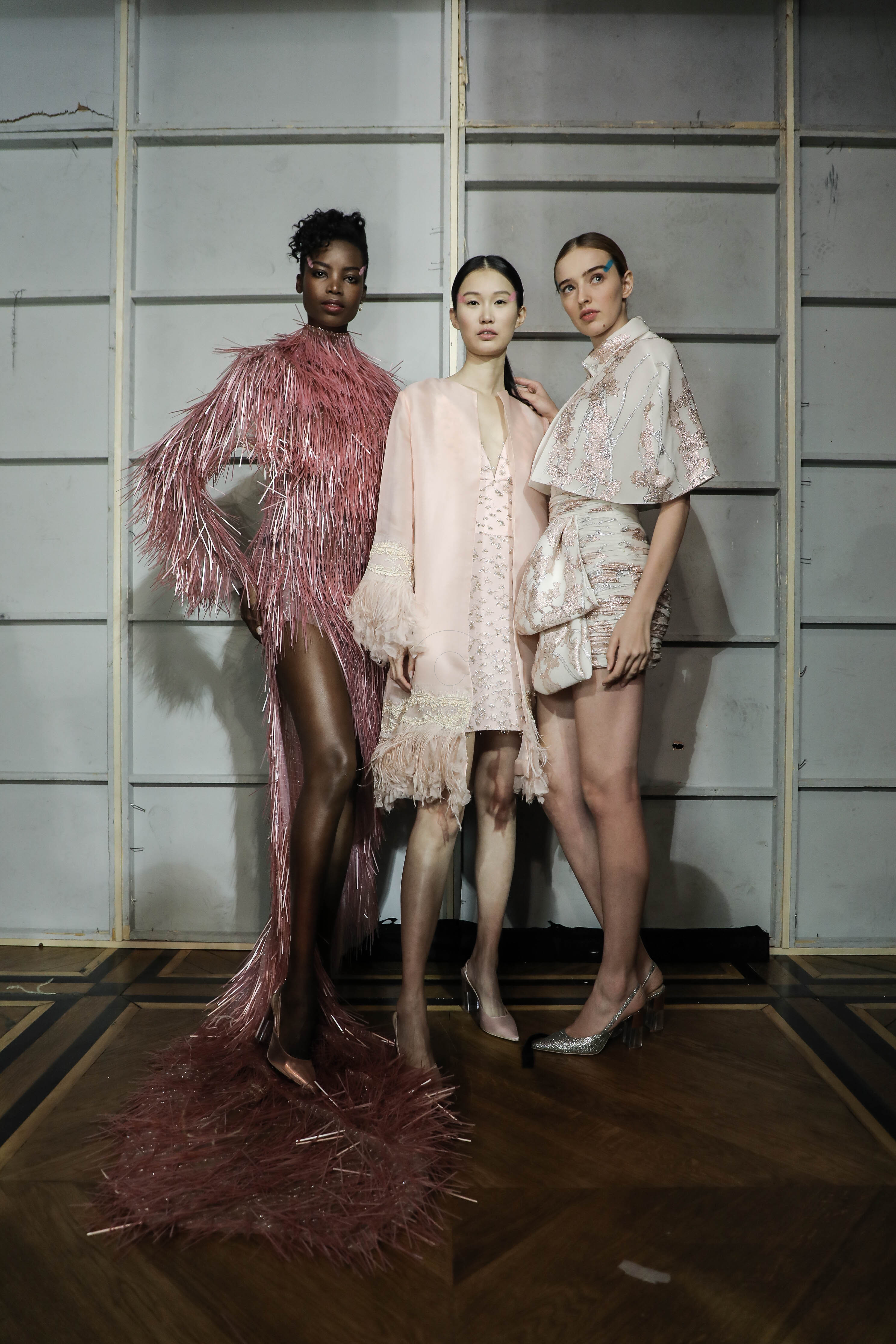 A Model wearing an outfit from the Haute Couture collections, summer 2019, original creation, during the Haute Couture Fashion Week in Paris, from the house of Celia Krithariotis