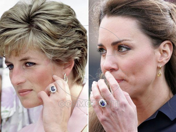 BRAZIL - APRIL 25:  Princess Diana Engagement Ring, Wedding Ring, Watch, Gold Earrings  (Photo by Tim Graham/Getty Images) (FILE) A file picture dated 11 April 2011 shows Britain's Prince William fiancee, Kate Middleton as she looks on at the Witten Country Park in Darwen, Britain. According to media reports on 13 April 2011 the bride-to-be will have her sapphire and diamond engagement ring resized in time for the royal wedding that will take place in London on 29 April 2011.