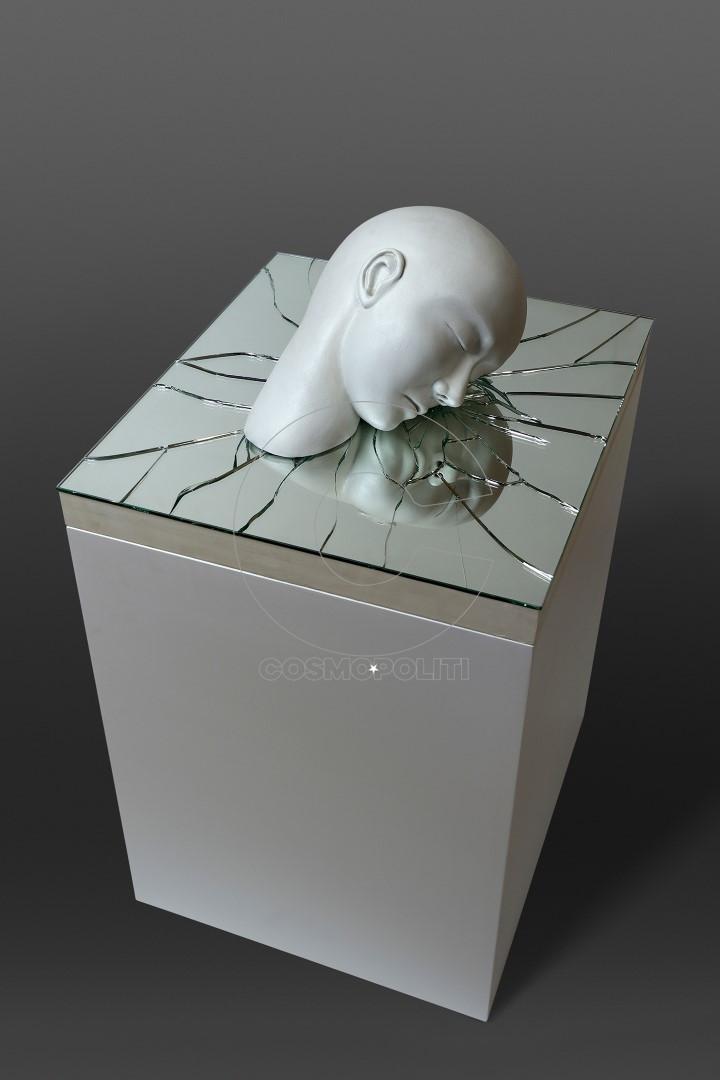 Διαρραγή 51 x 46 x 20 cm. Κεραμικό, καθρέφτης. Stoneware mirror. (Large)