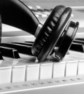 Headphones piano music for ads