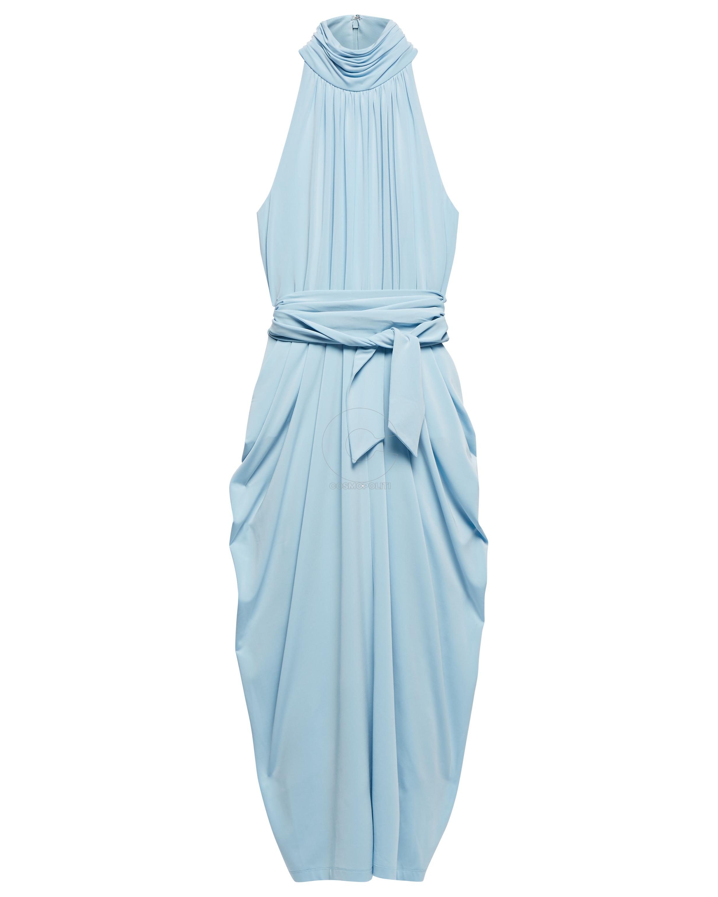 WW0WW25451905 ZENDAYA HALTER NECK DRAPE DRESS AQUAMARINE